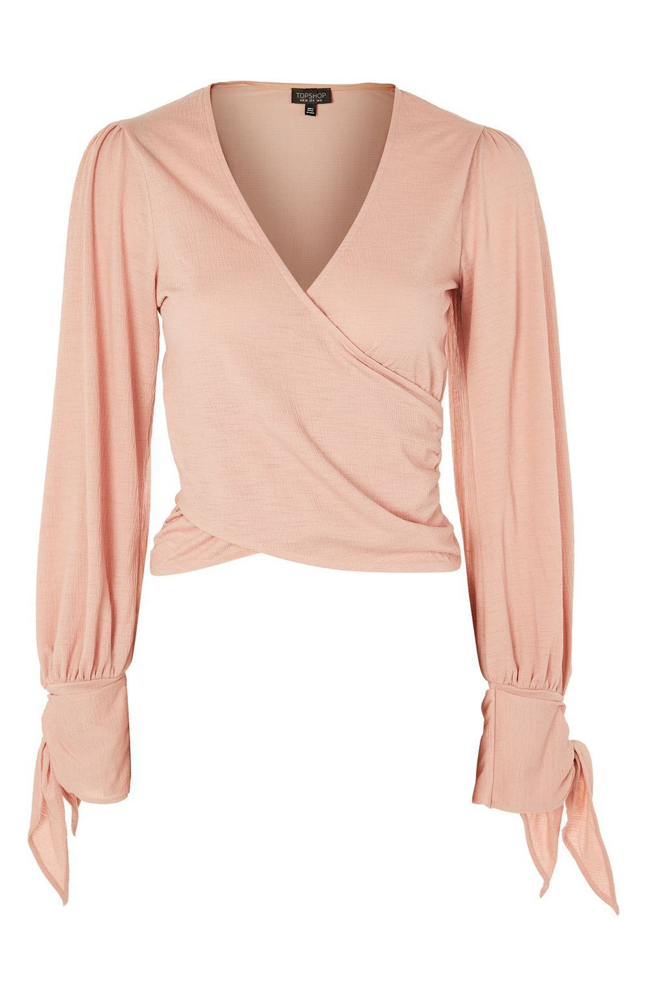 Wrap Front Tie Sleeve Top,                             Alternate thumbnail 3, color,                             650