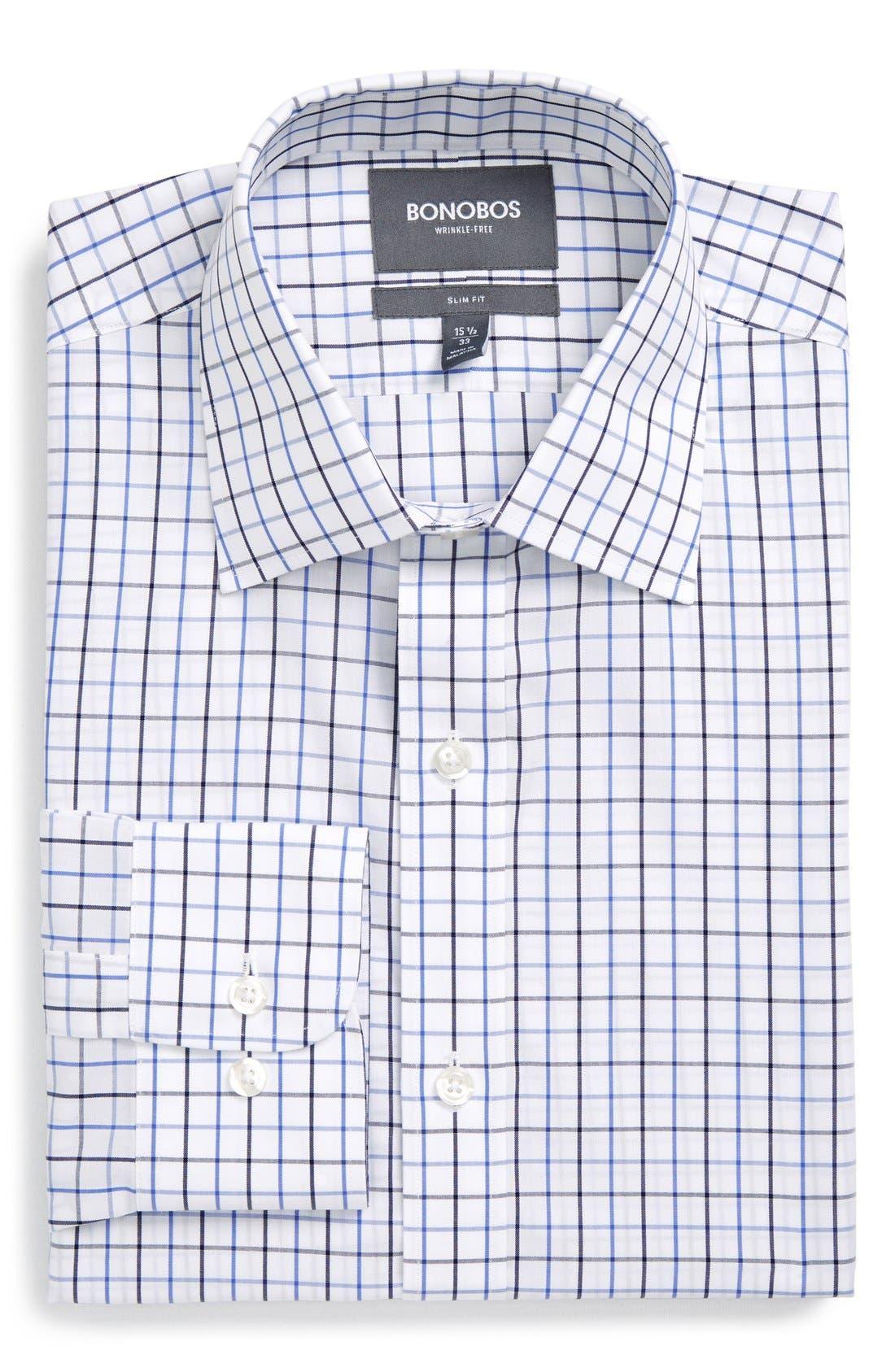 Slim Fit Wrinkle Free Check Dress Shirt,                             Main thumbnail 1, color,                             WHITE