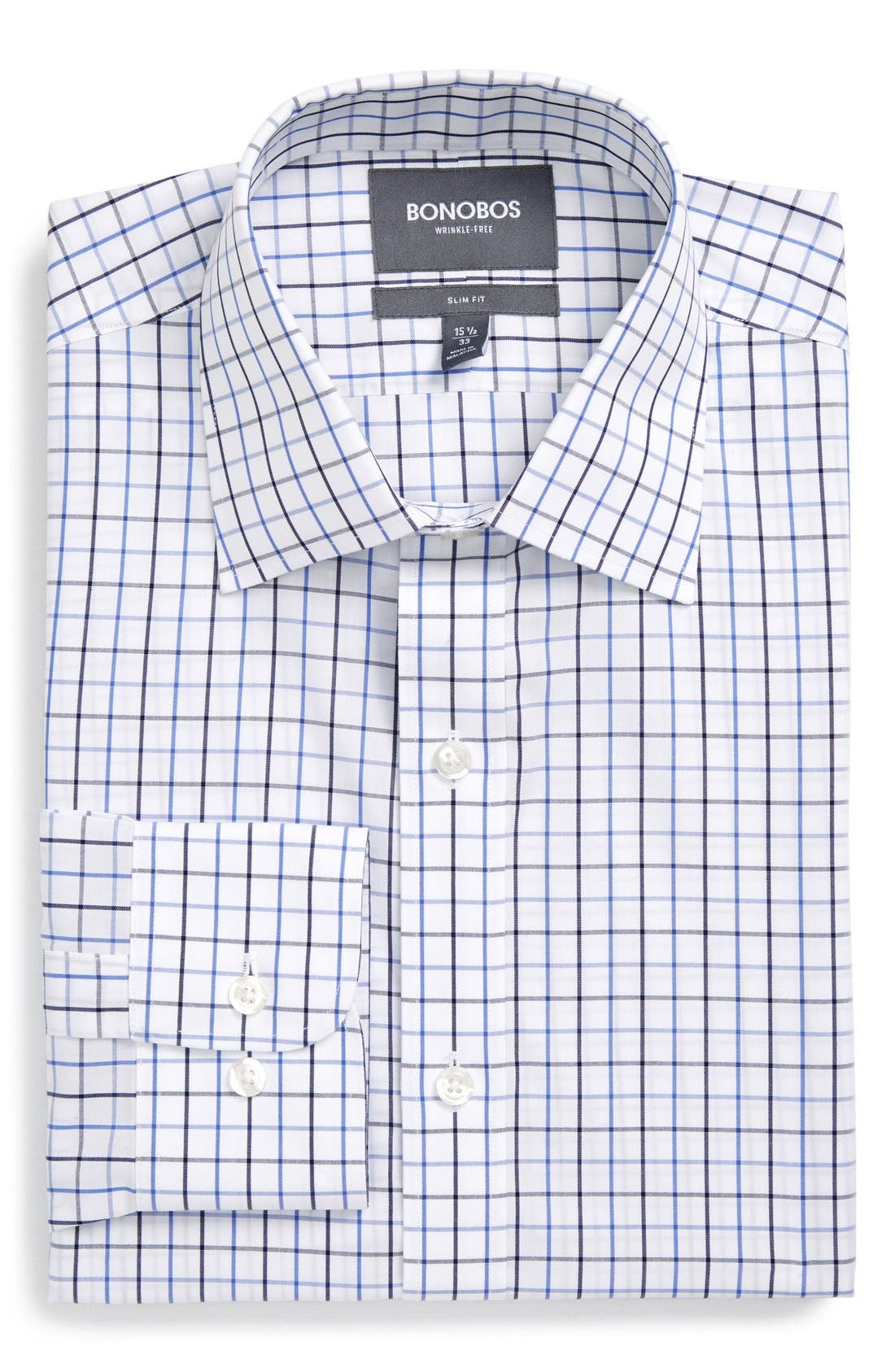 Slim Fit Wrinkle Free Check Dress Shirt,                         Main,                         color, WHITE
