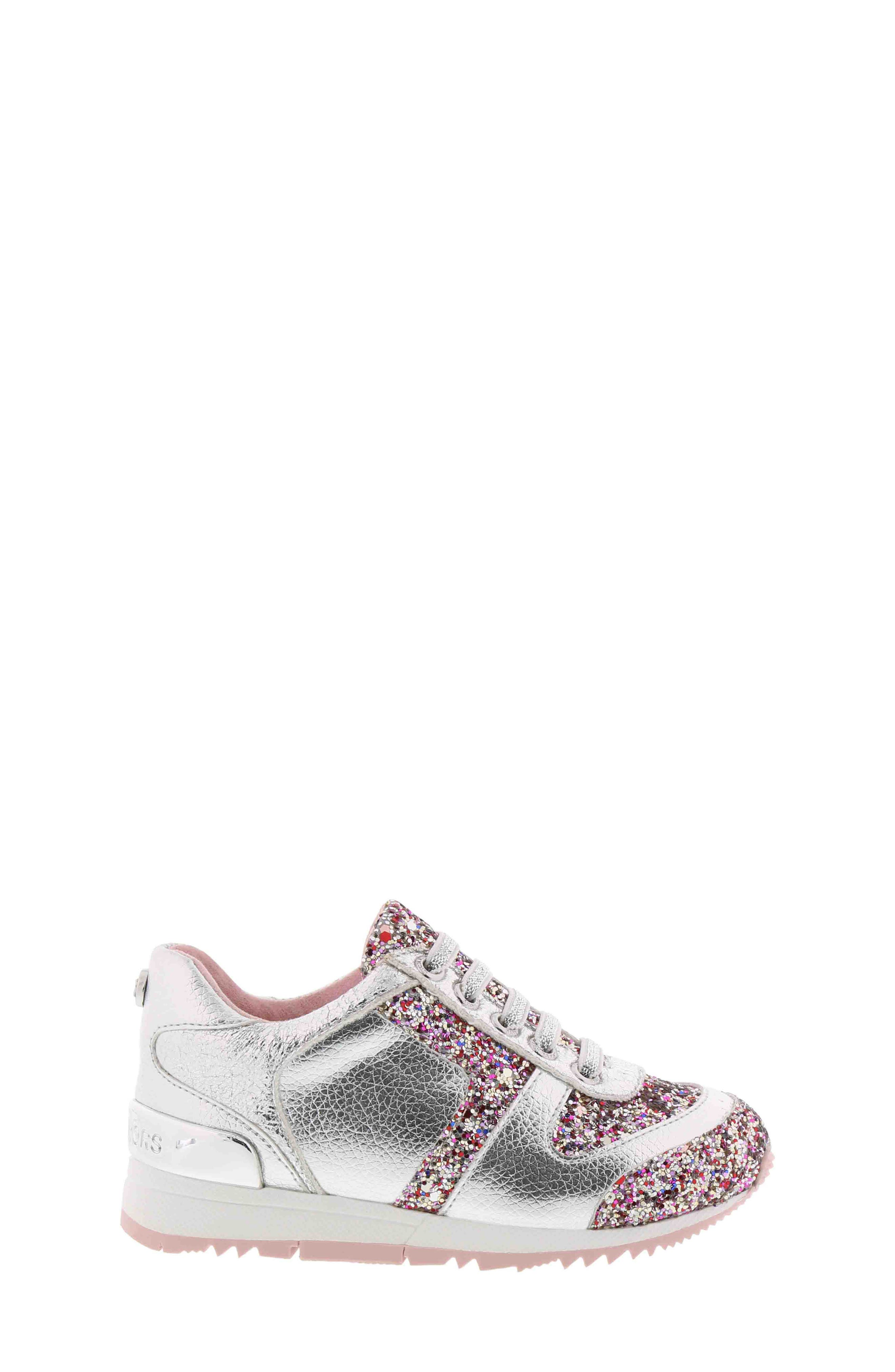 Allie Beatz Glitter Sneaker,                             Alternate thumbnail 3, color,                             SILVER MULTI