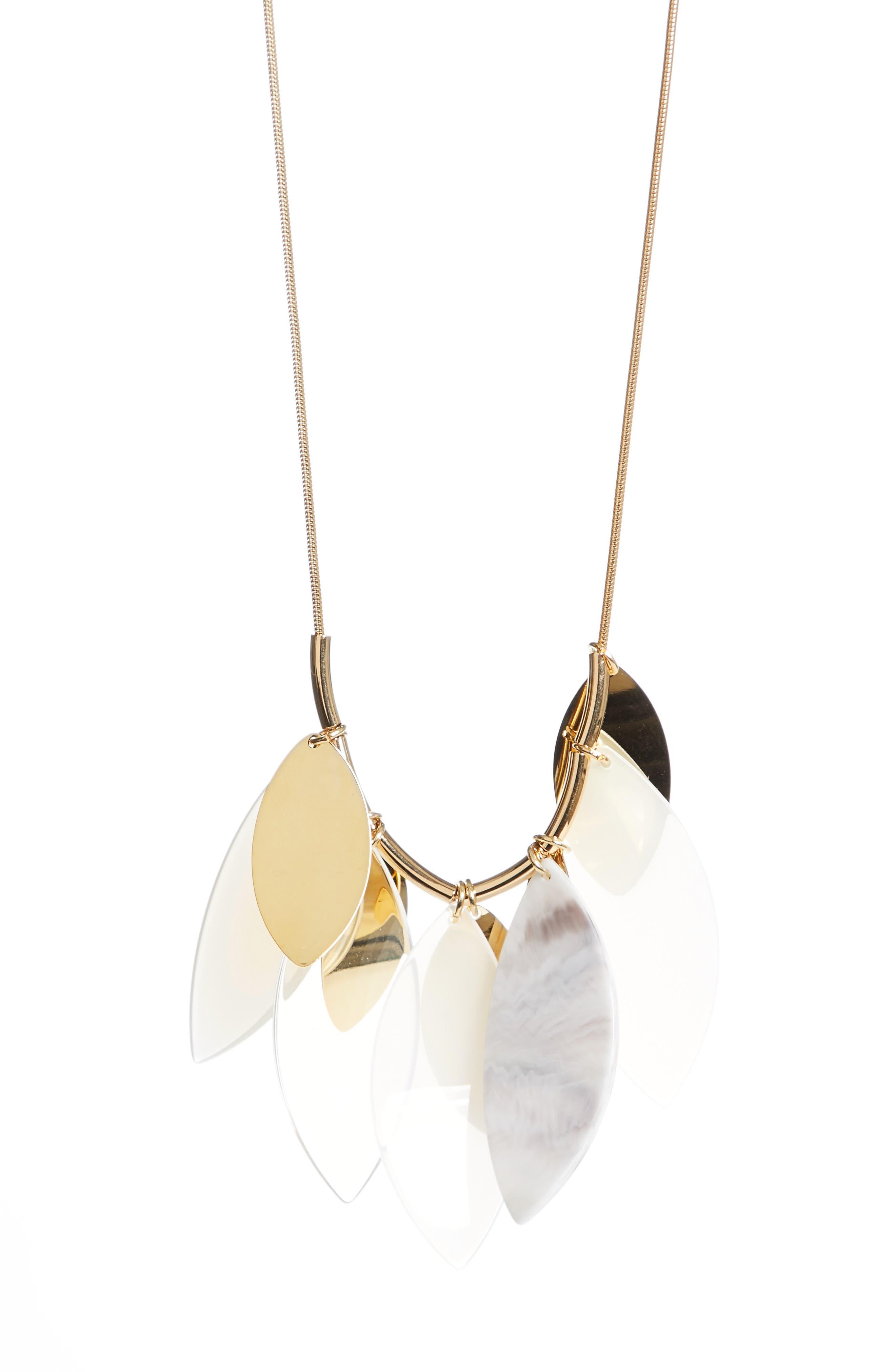 Multi Leaf Statement Necklace,                         Main,                         color,