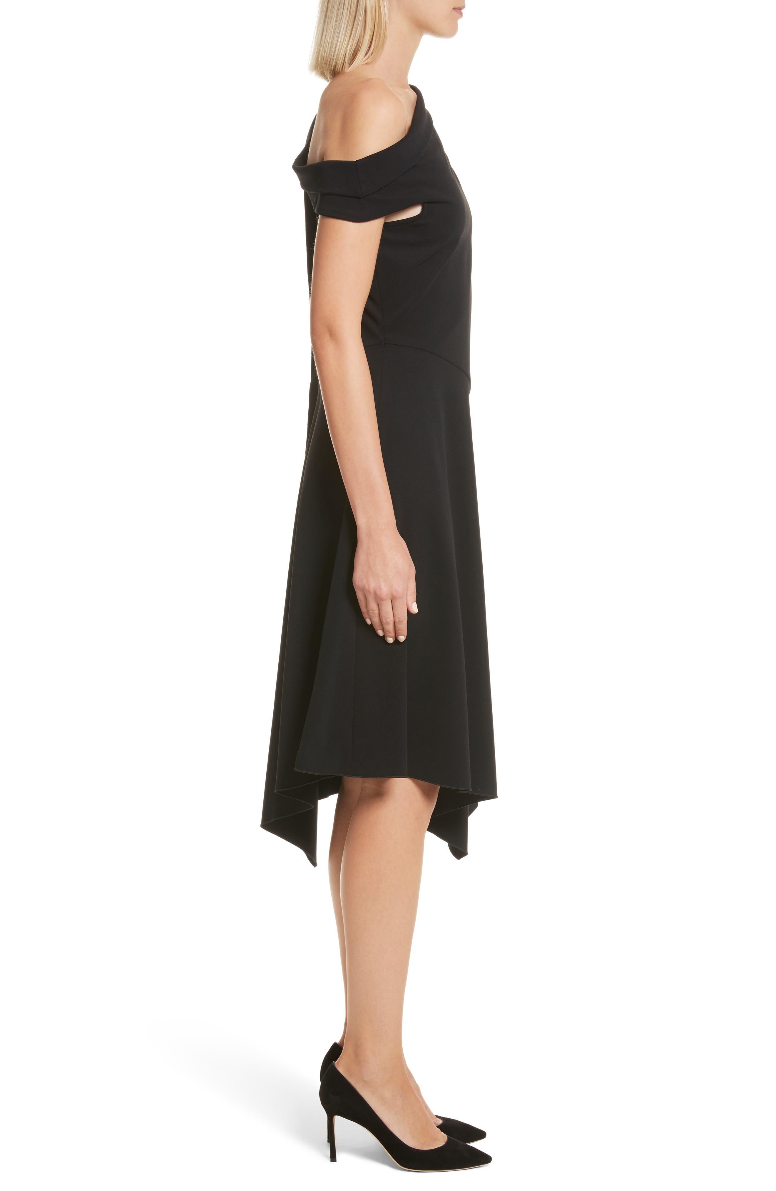 One-Shoulder Midi Dress,                             Alternate thumbnail 3, color,                             001