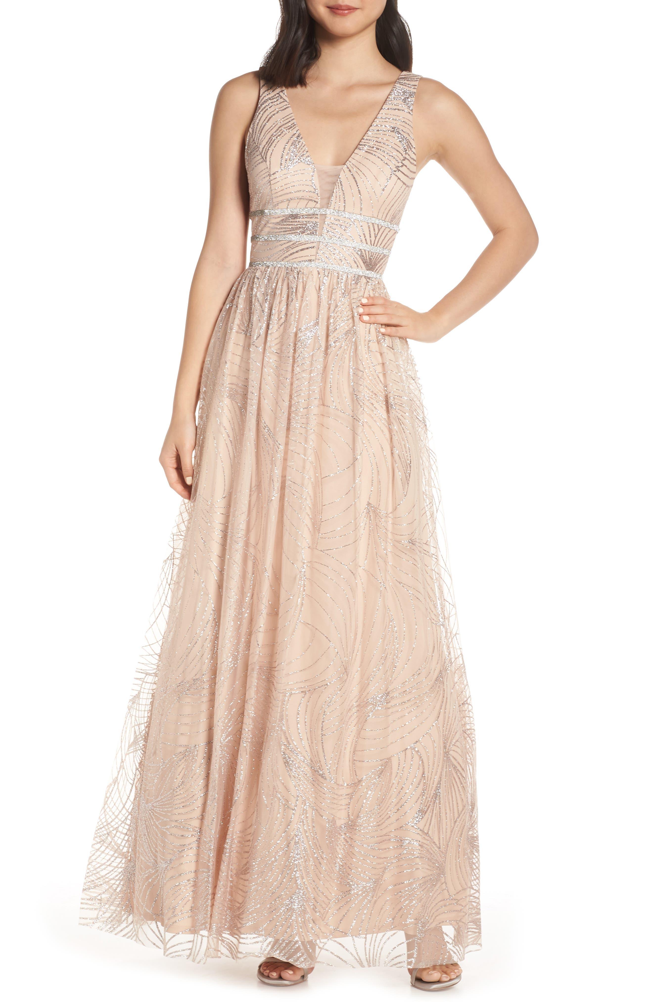 Blondie Nites Stripe Waist Glitter Mesh Evening Dress, Beige