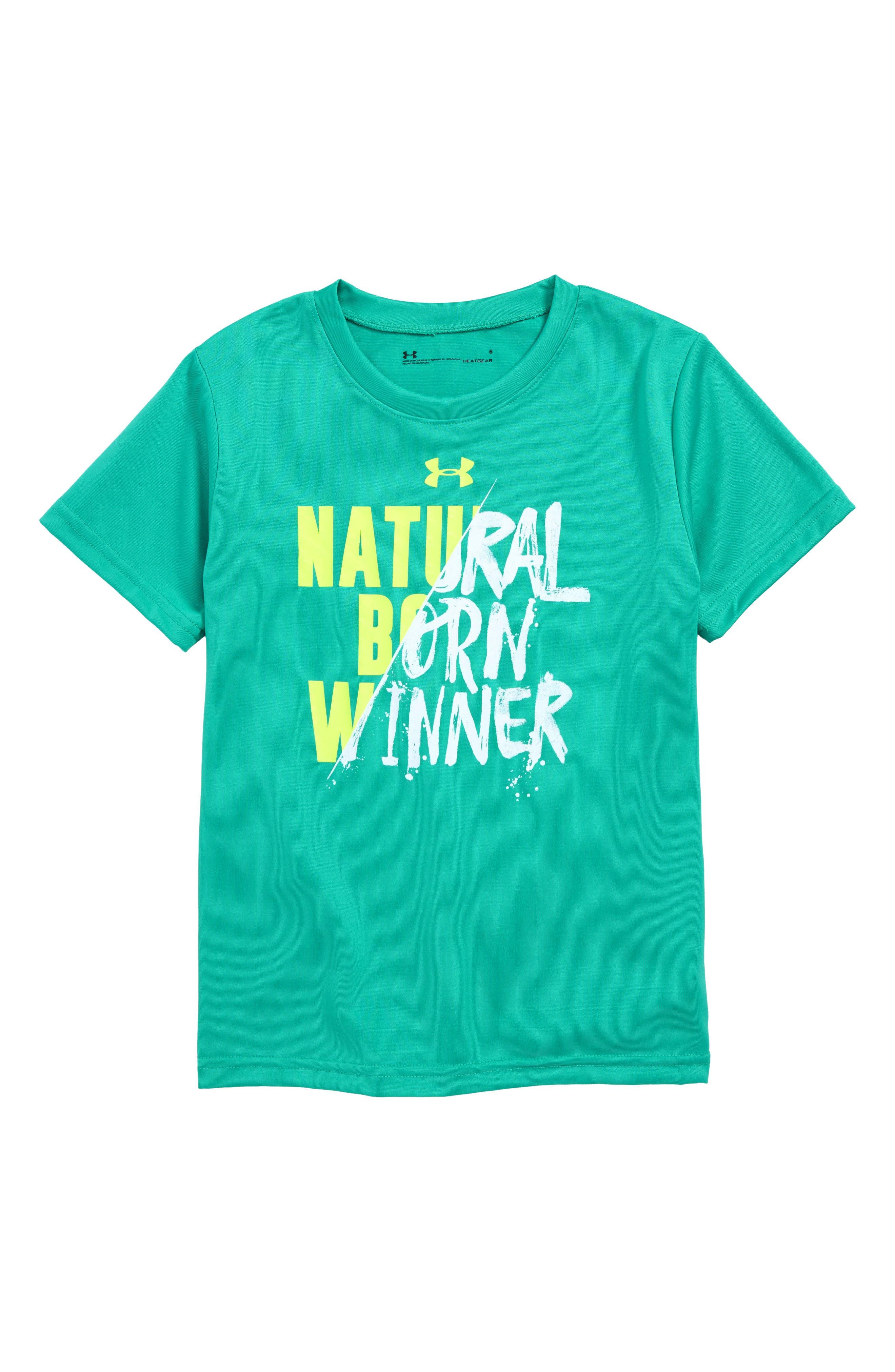Natural Born Winner HeatGear<sup>®</sup> T-Shirt,                             Main thumbnail 1, color,                             GREEN MALACHITE