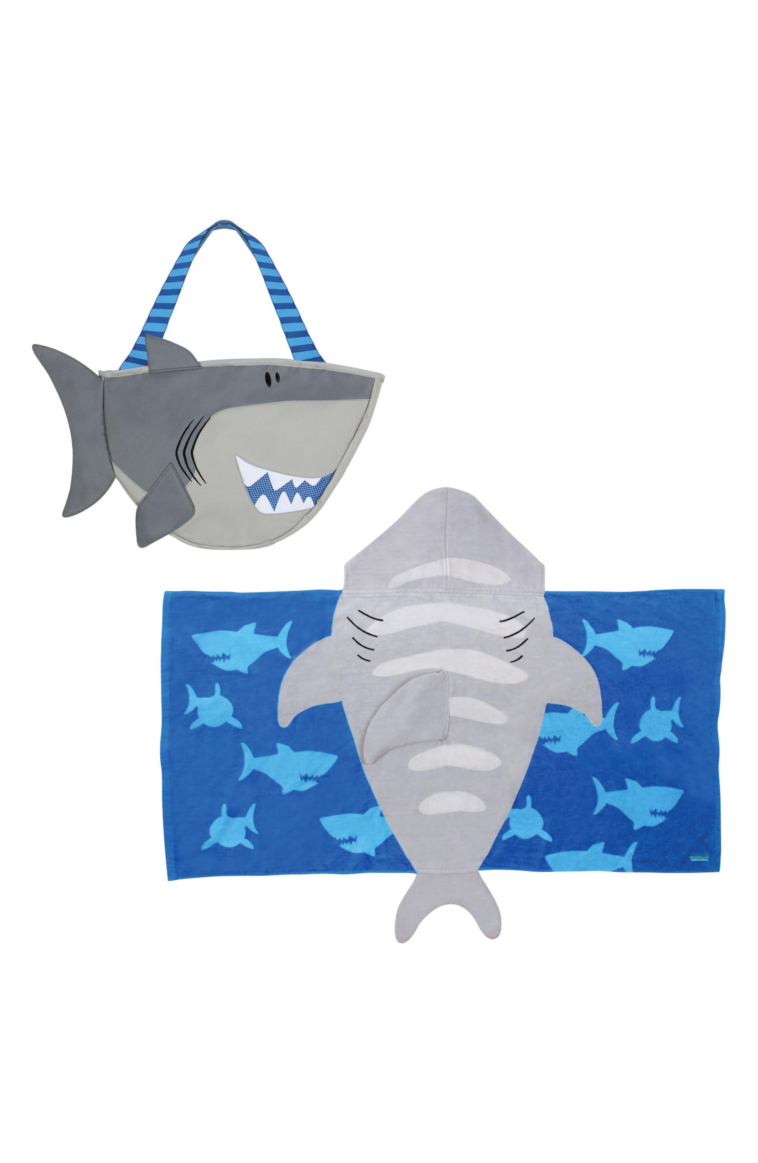 Beach Tote & Hooded Towel Set,                         Main,                         color, GRAY SHARK