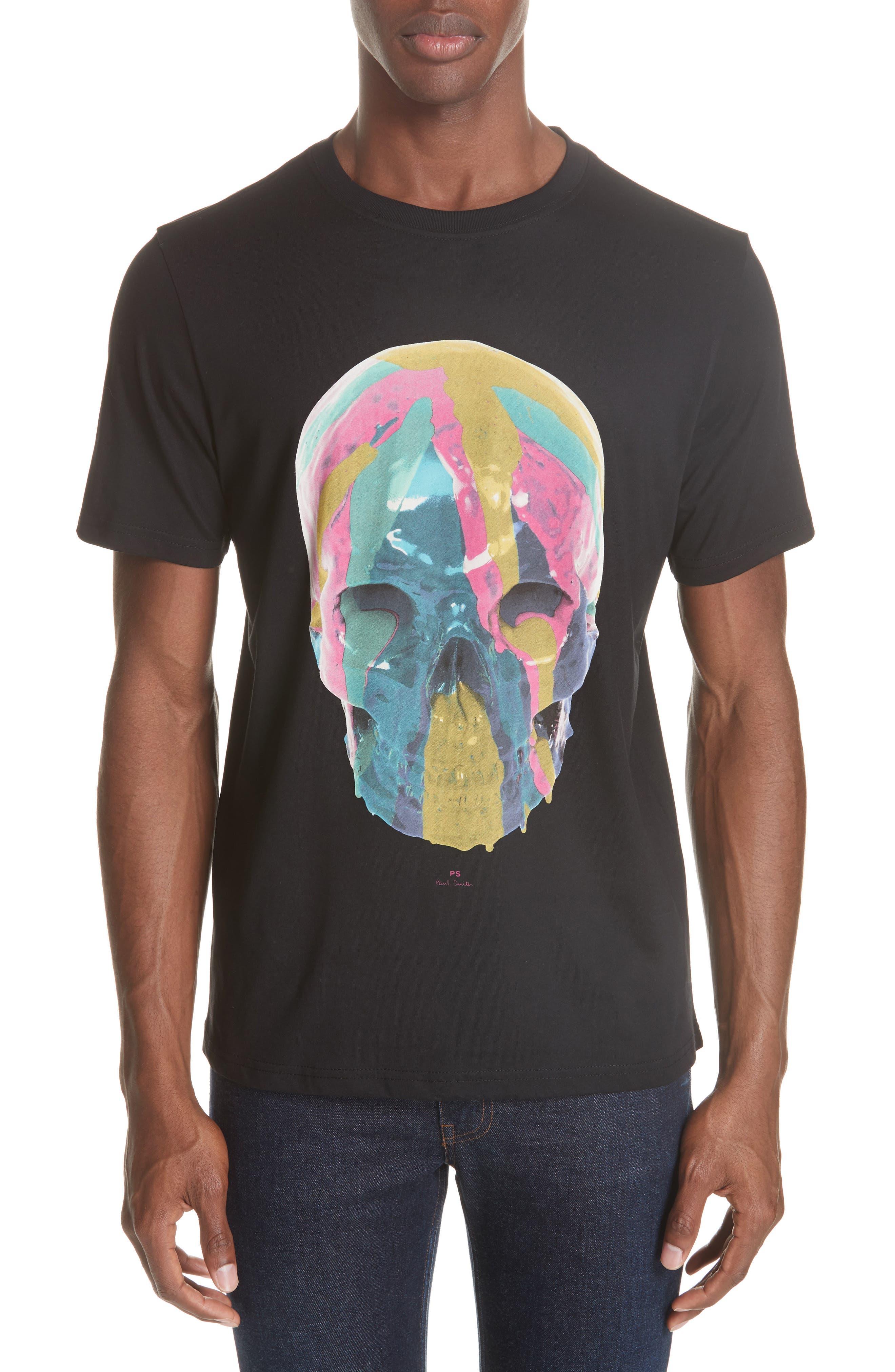 Skull Graphic T-Shirt,                             Main thumbnail 1, color,                             BLACK