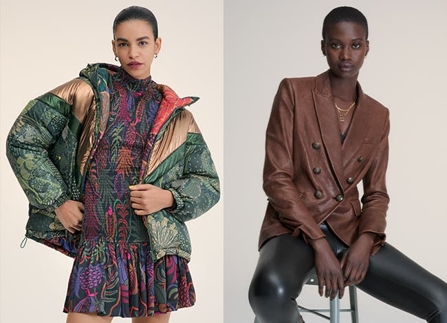 Models wearing global-craft and faux-leather clothing.