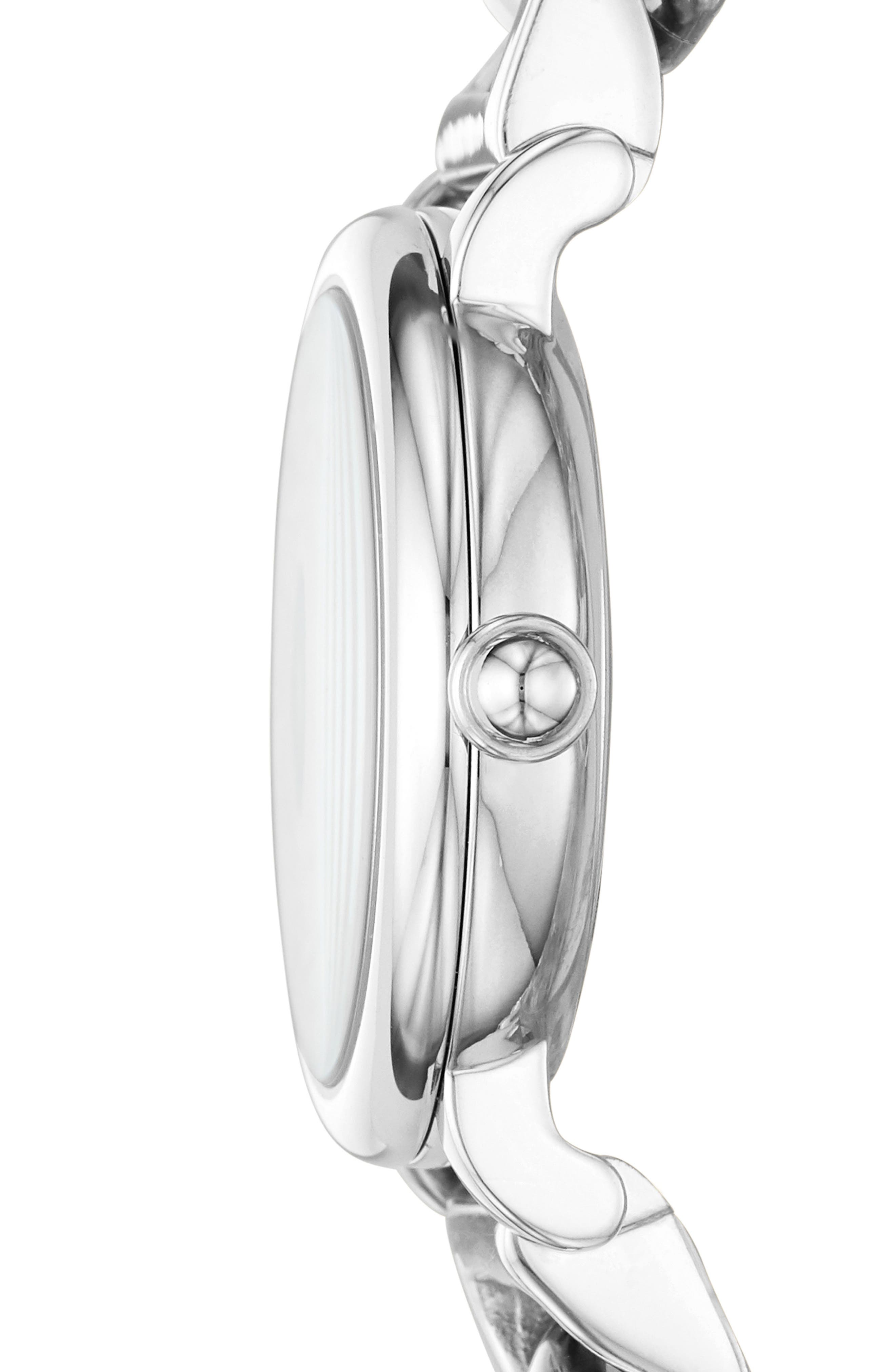 Classic Chain Link Bracelet Watch, 28mm,                             Alternate thumbnail 2, color,                             SILVER/ WHITE/ SILVER
