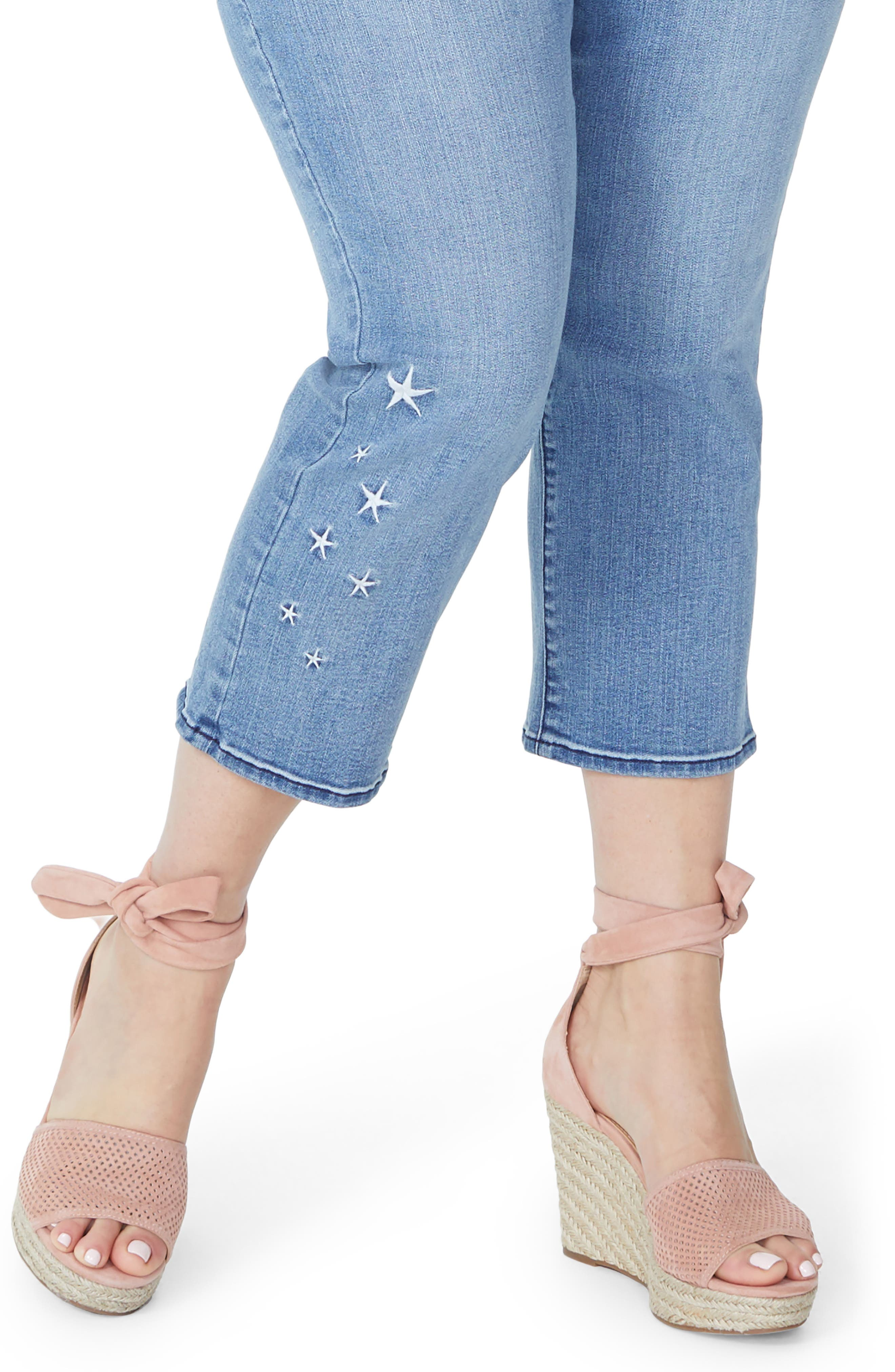 Marilyn Seastar Embroidered Ankle Skinny Jeans,                             Alternate thumbnail 4, color,                             POINT DUME
