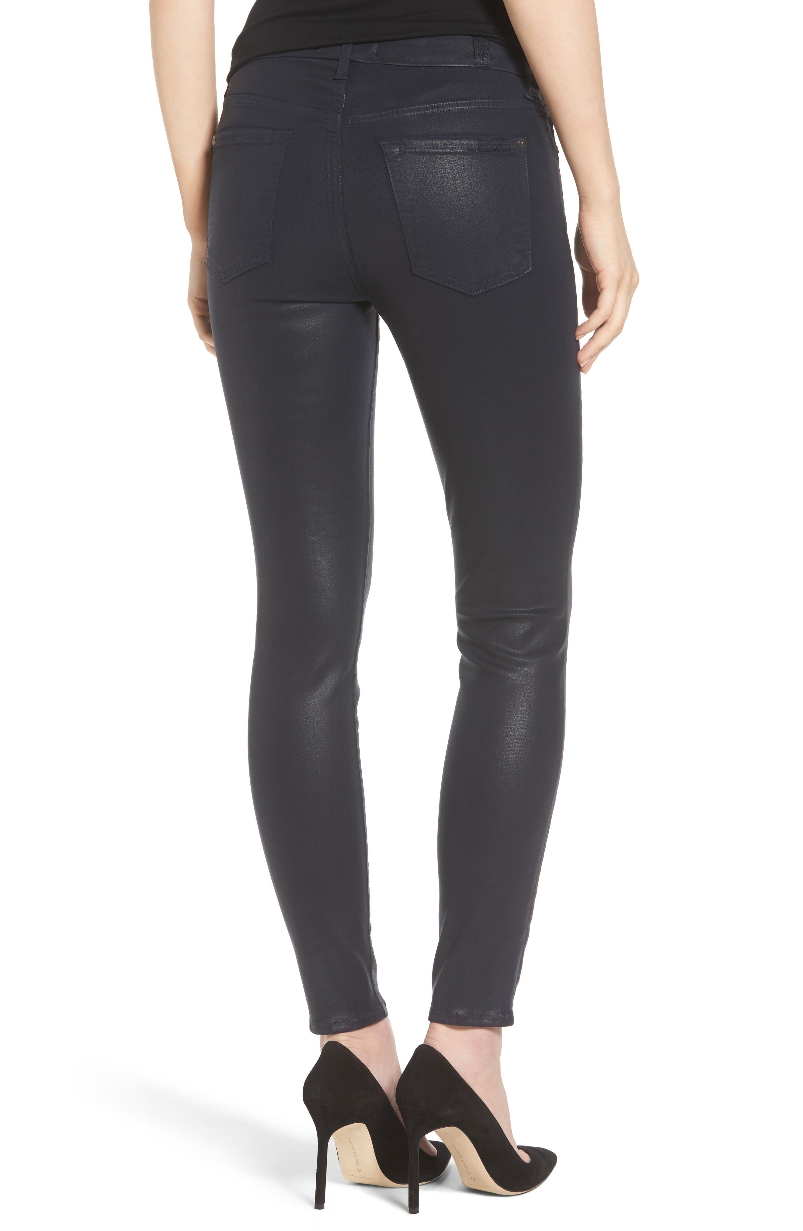 Coated Ankle Skinny Jeans,                             Alternate thumbnail 7, color,