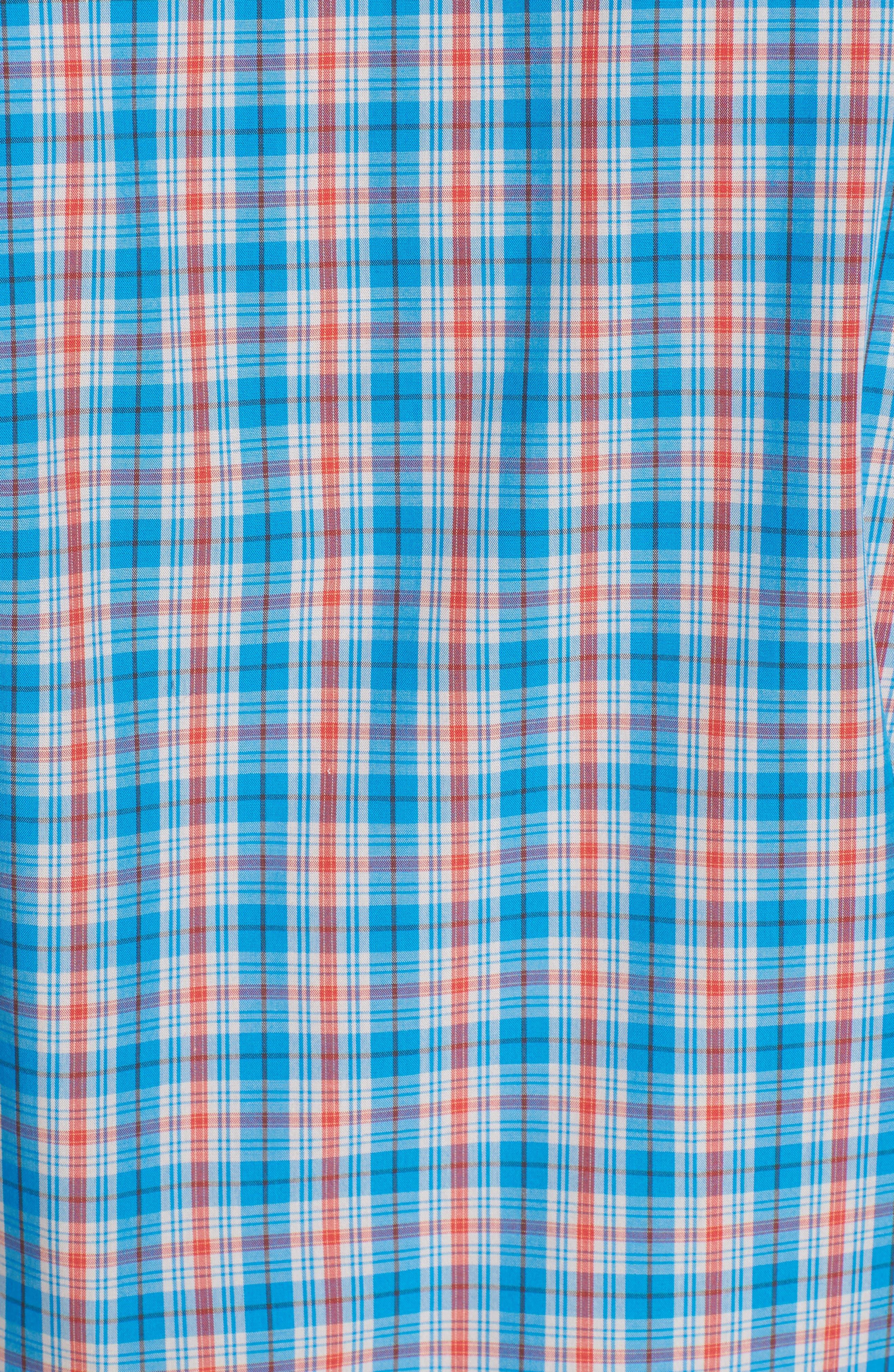 Landon Classic Fit Non-Iron Plaid Sport Shirt,                             Alternate thumbnail 5, color,                             POOLSIDE