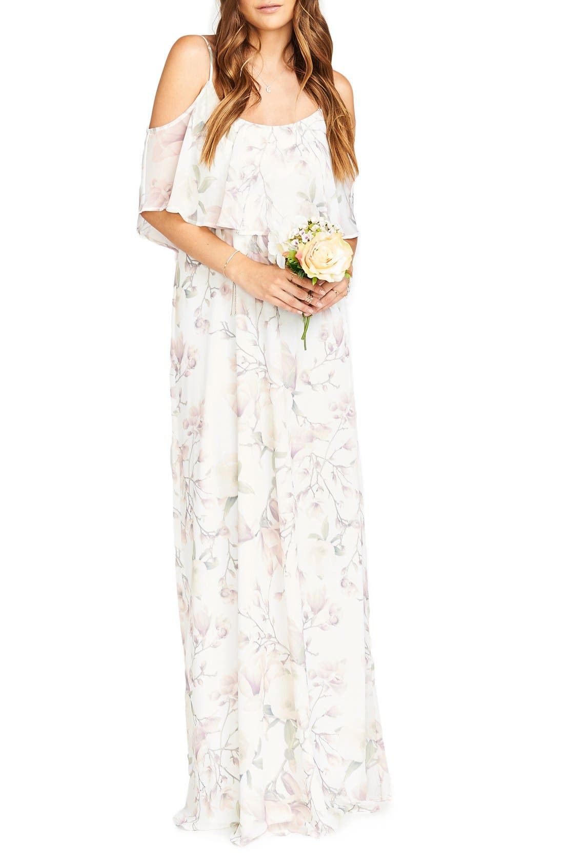 Caitlin Cold Shoulder Chiffon Gown,                             Main thumbnail 17, color,