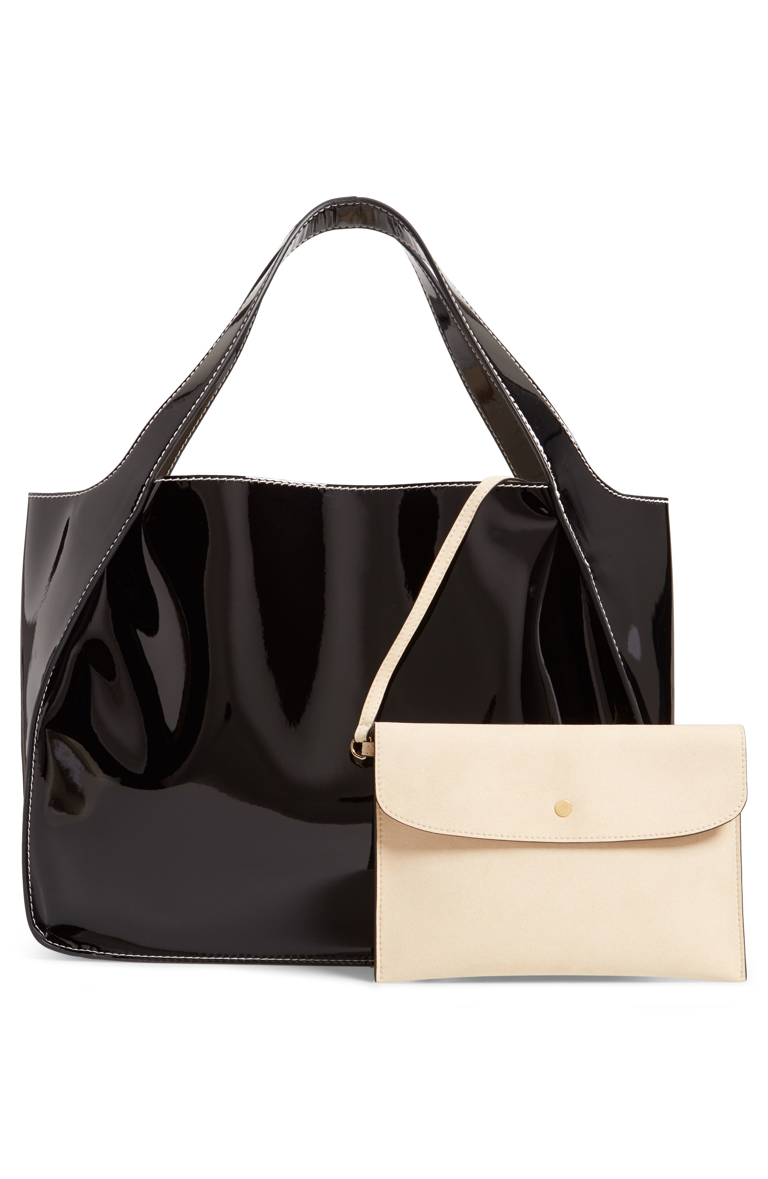Small Logo Faux Leather Tote,                             Alternate thumbnail 3, color,                             001