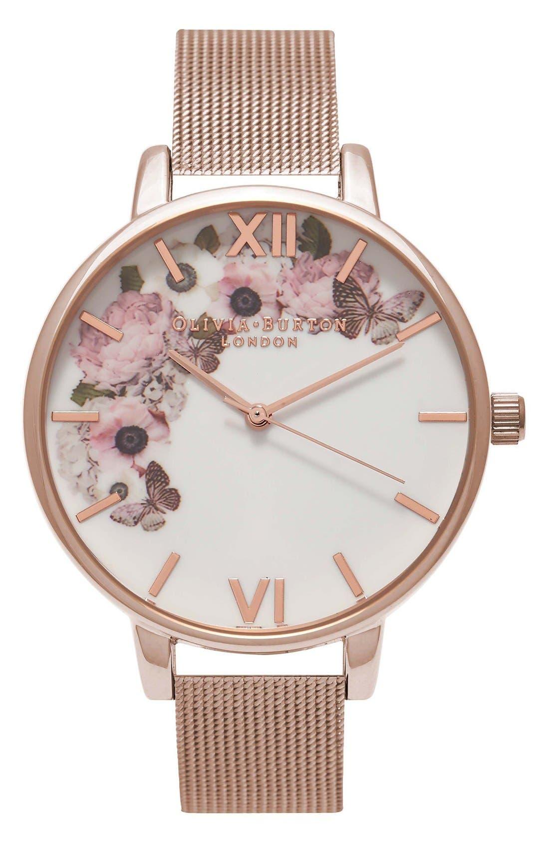 Signature Florals Mesh Bracelet Watch, 38mm,                         Main,                         color, ROSE GOLD/ ROSE GOLD/ WHITE