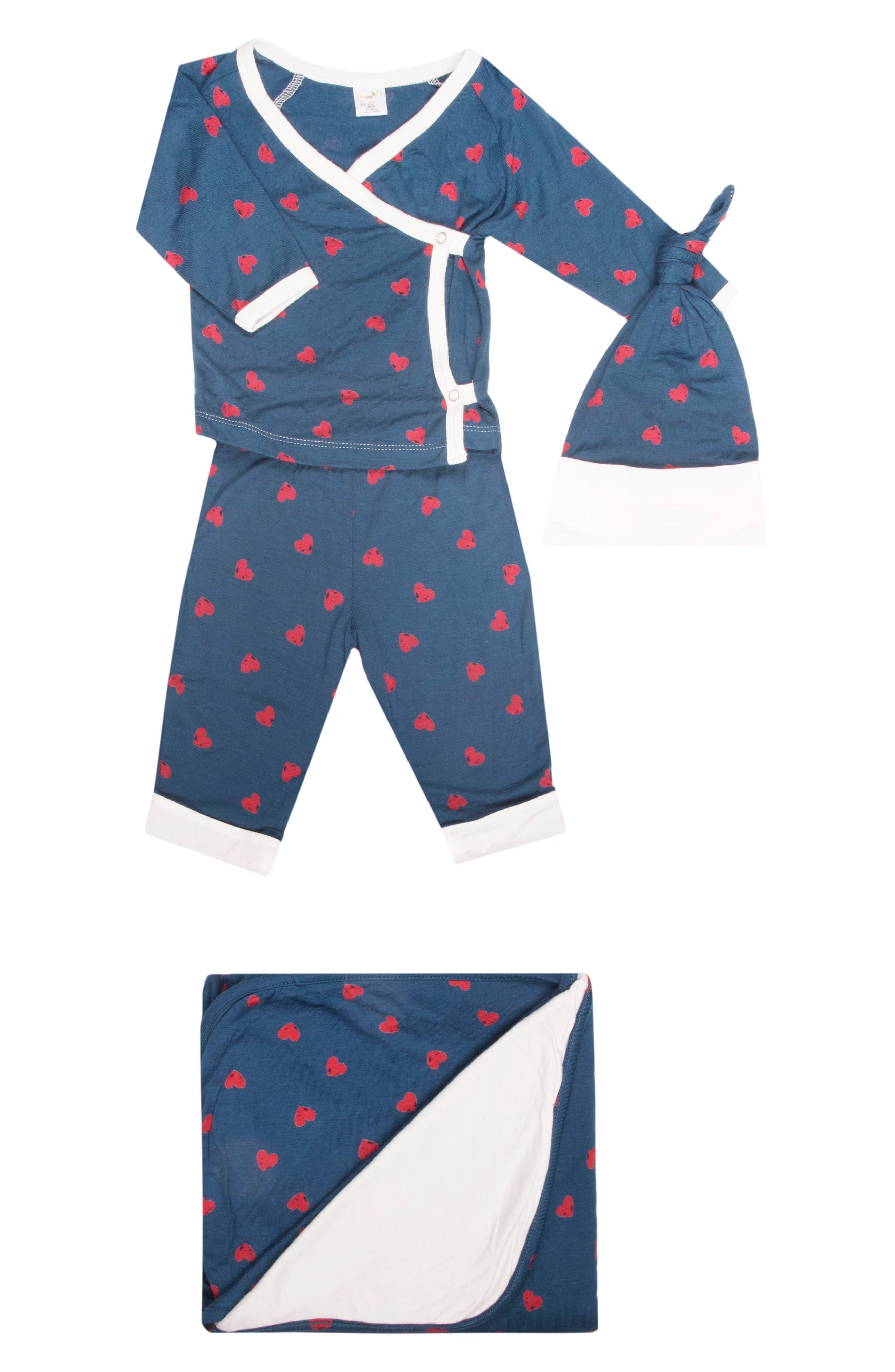 Infant Boys Baby Grey Kimono Top Pants Hat  Blanket Set