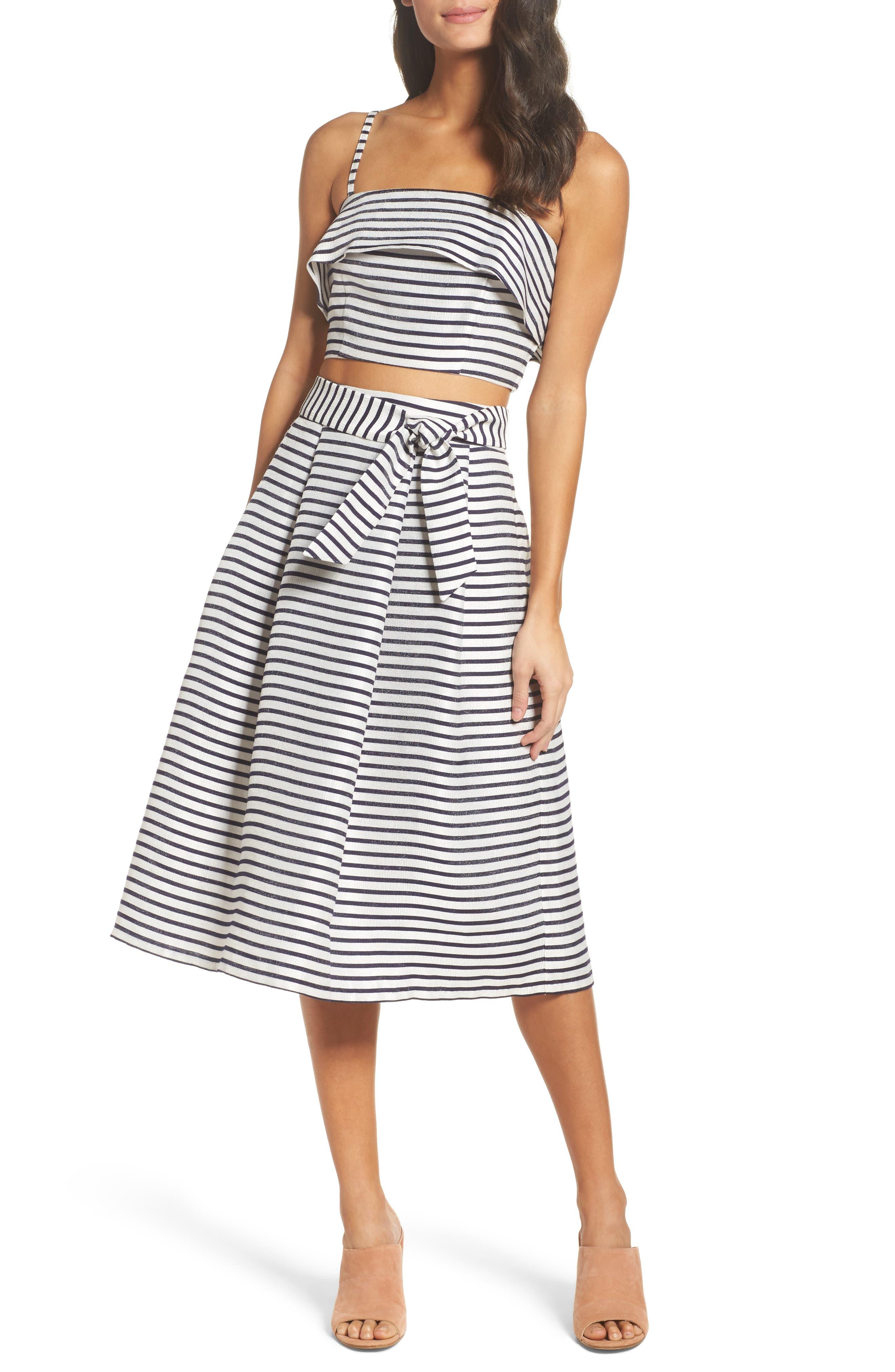 BB Dakota Grace Stripe Two-Piece Dress,                             Main thumbnail 1, color,                             900