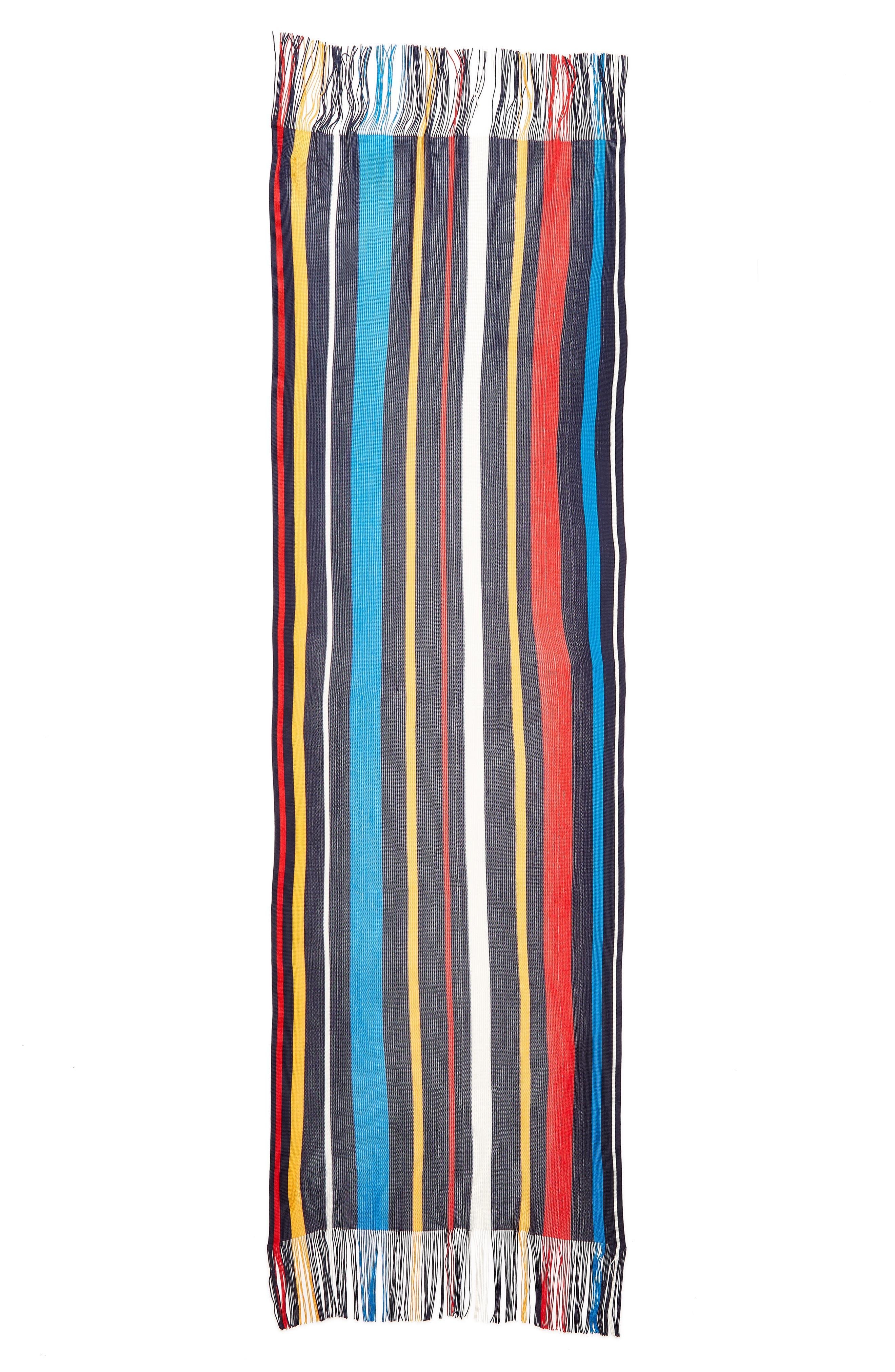 Cabana Stripe Silk Scarf,                             Alternate thumbnail 3, color,                             411