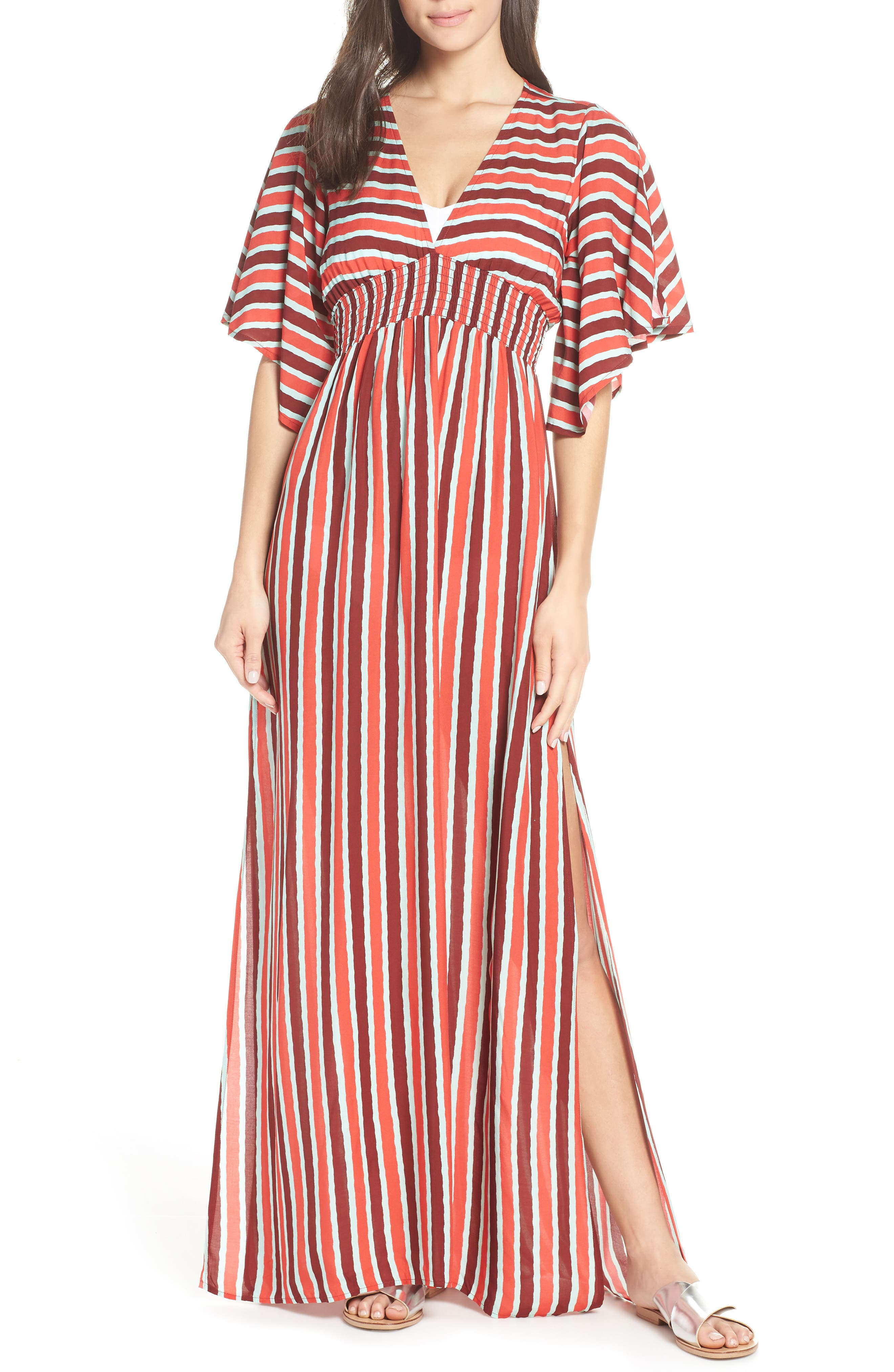 Morning Glam Cover-Up Maxi Dress, Main, color, MULTI RED