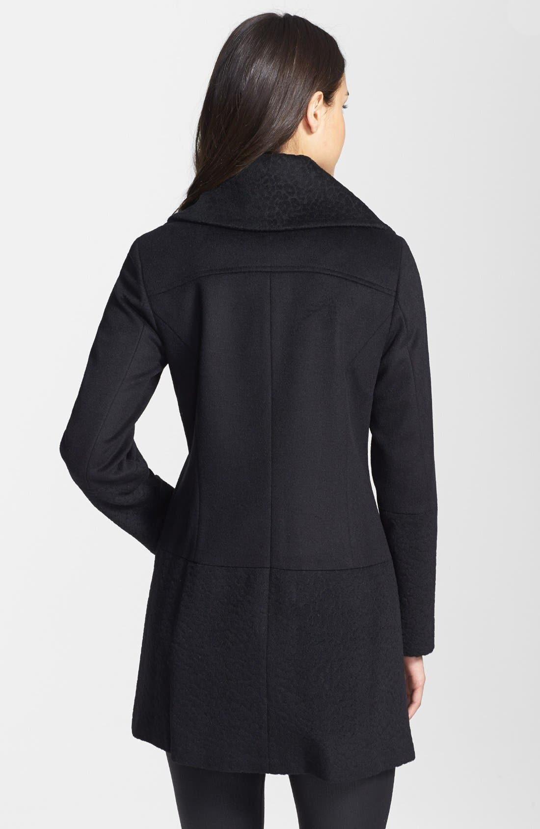 Solid & Jacquard Wool Blend Coat,                             Alternate thumbnail 2, color,                             001