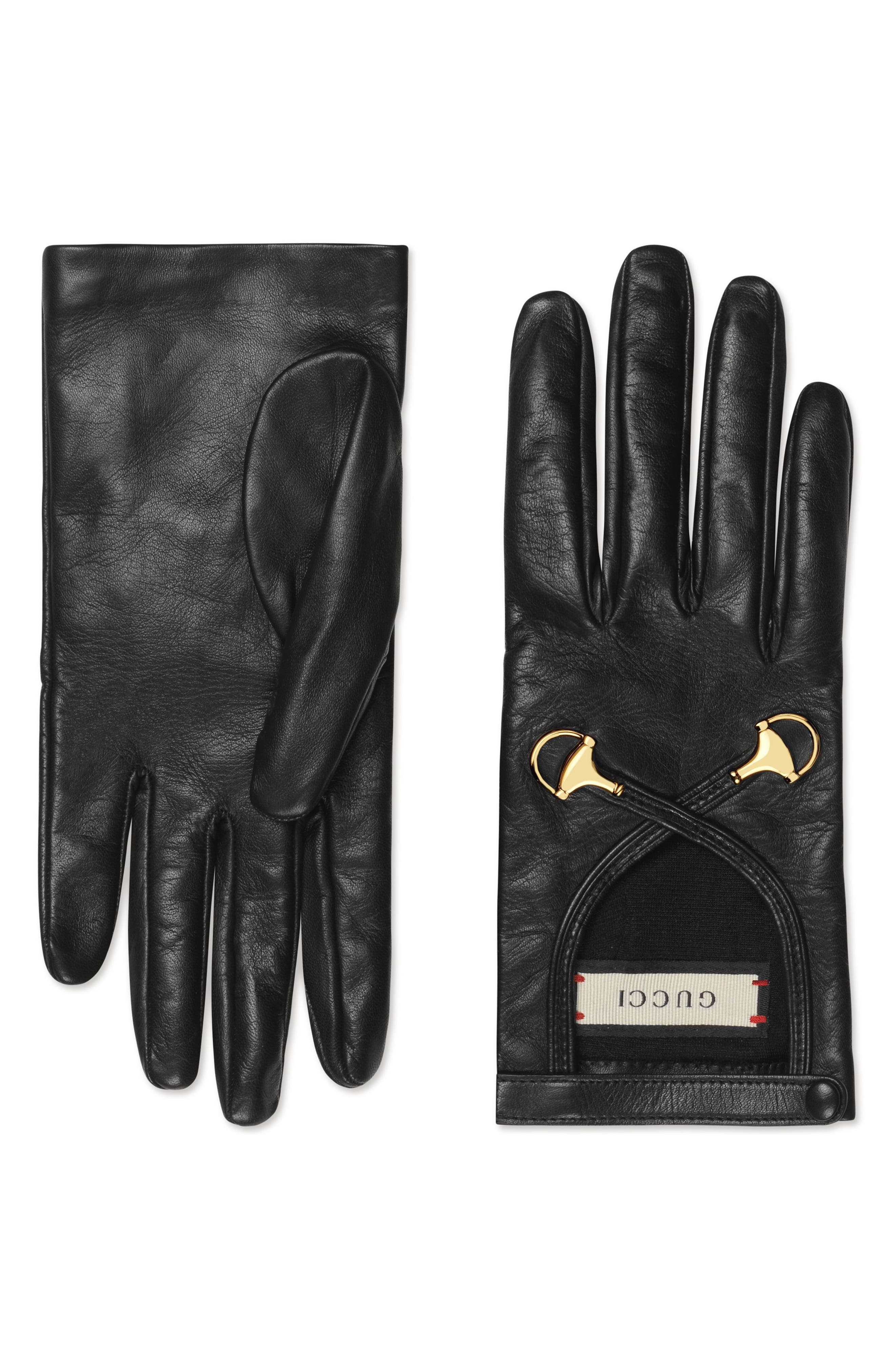 Horsebit Nappa Leather Gloves,                             Main thumbnail 1, color,                             NERO