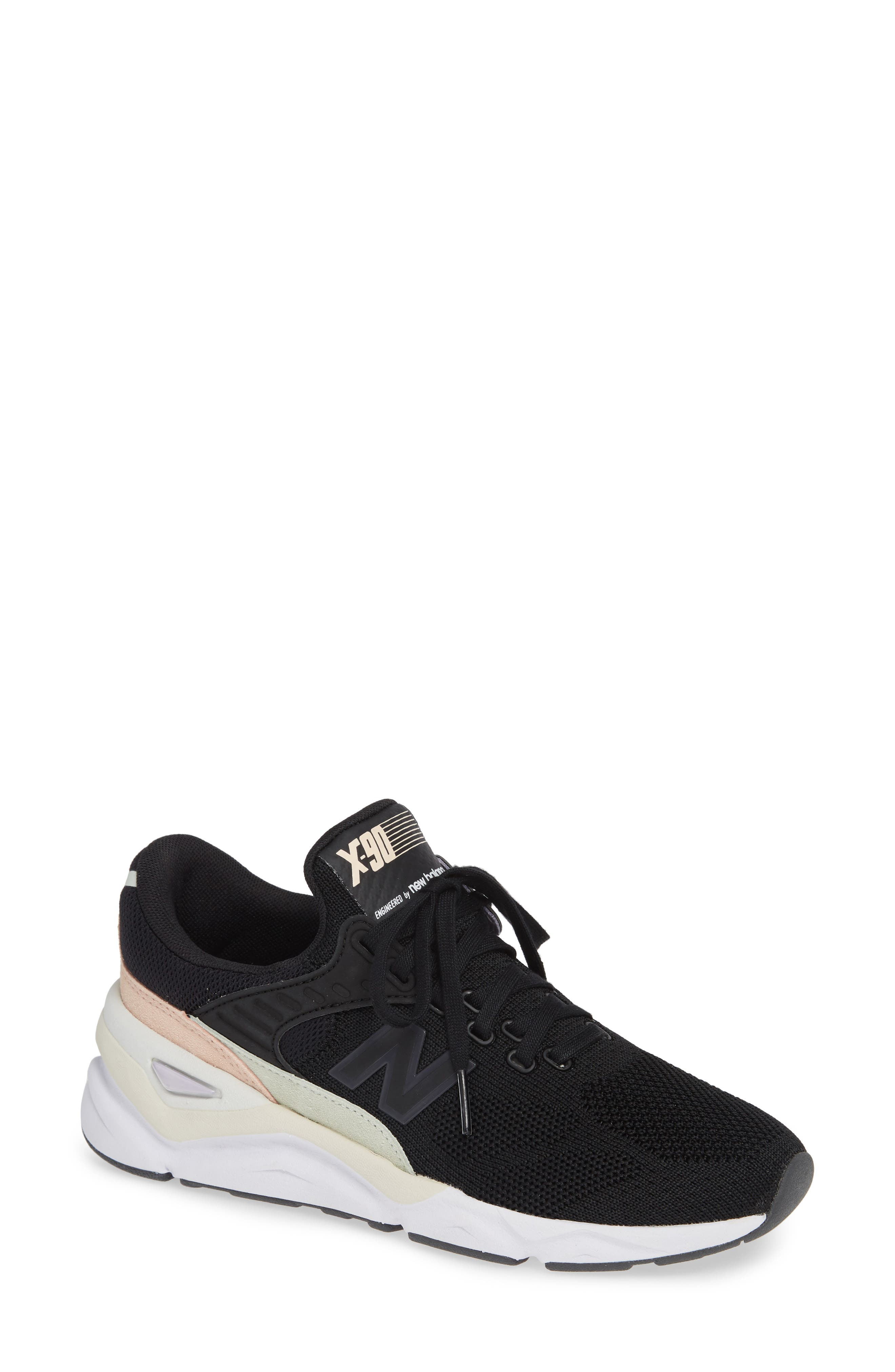 NEW BALANCE X90 Suede Mesh Sneakers in Black