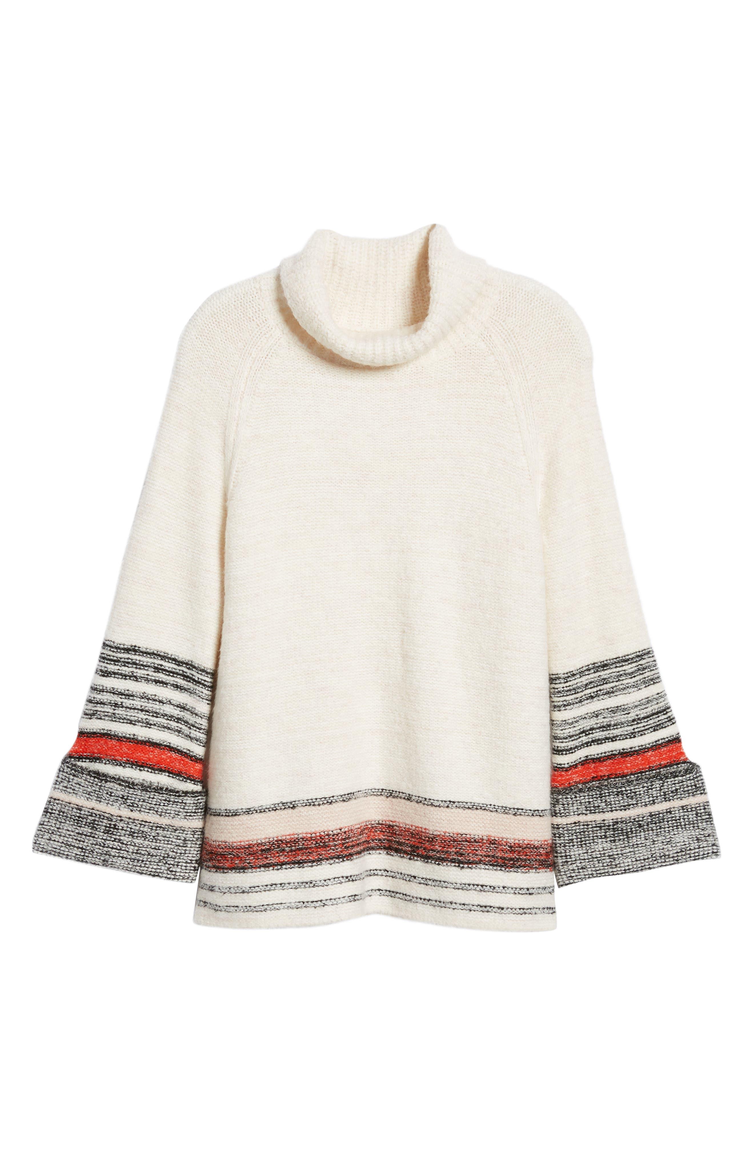 Border Stripe Sweater,                             Alternate thumbnail 6, color,                             IVORY COMBO