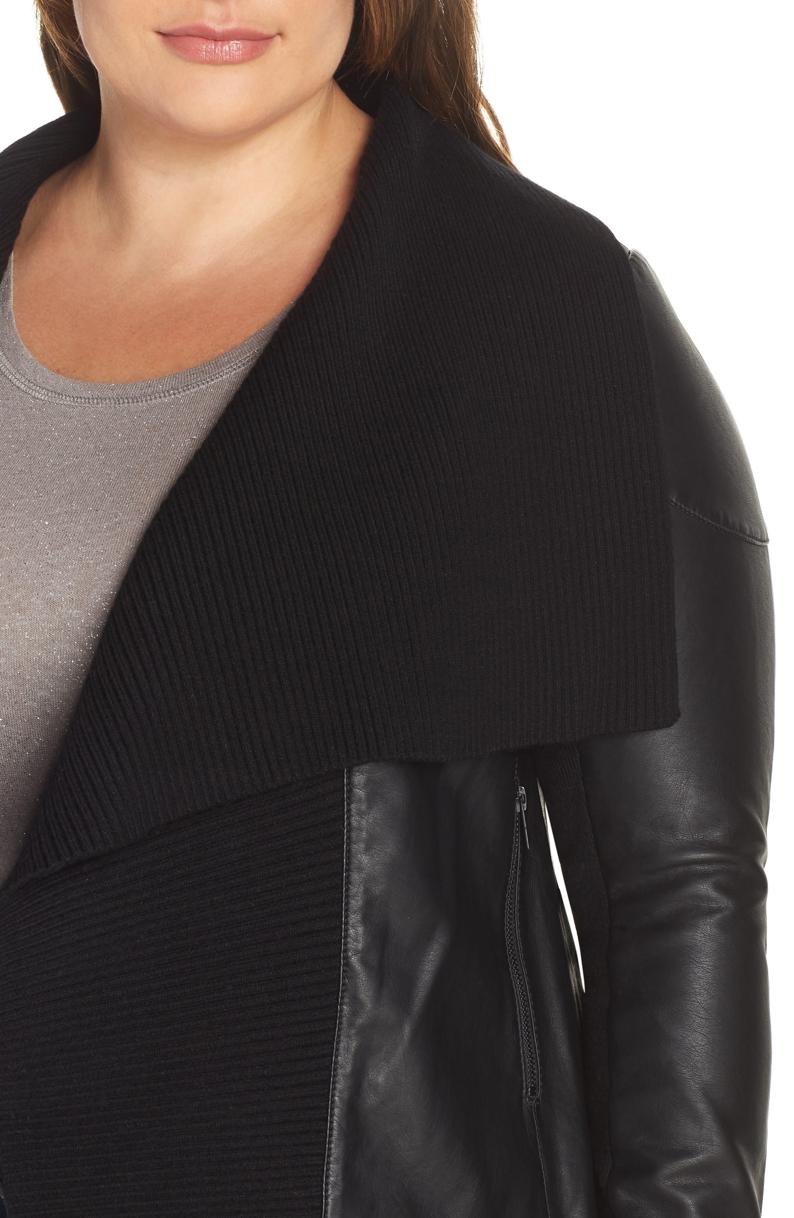 Ribbed Drape Front Faux Leather Jacket,                             Alternate thumbnail 4, color,                             BLACK