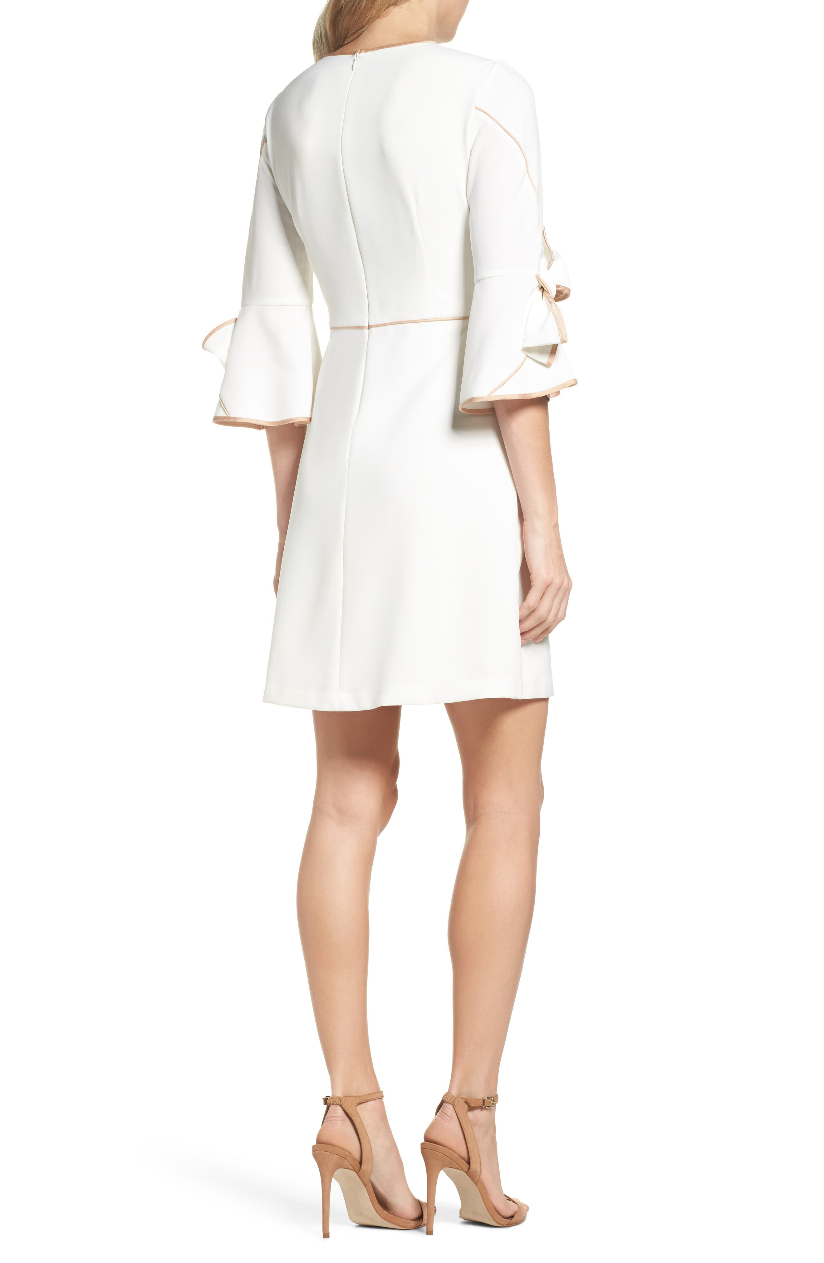 Bow Sleeve Crepe A-Line Dress,                             Alternate thumbnail 2, color,                             900