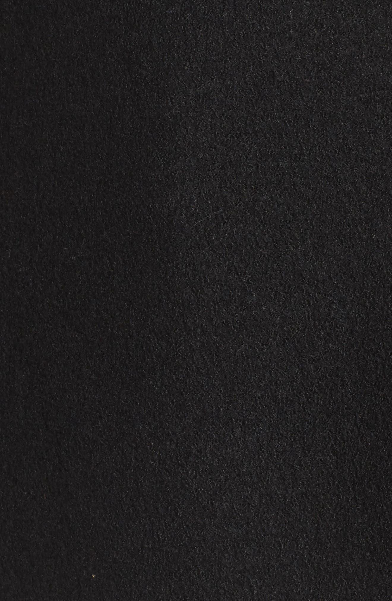 Asymmetrical Zip Boiled Wool Blend Coat,                             Alternate thumbnail 6, color,                             001