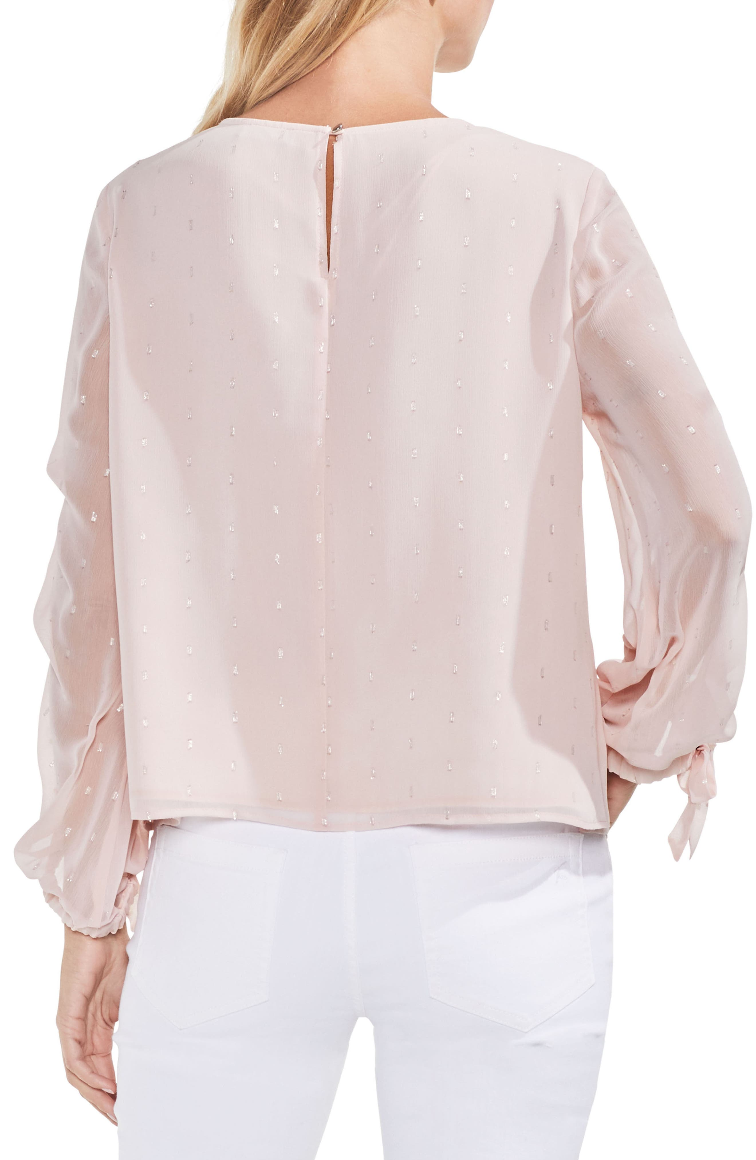 Tiered Sleeve Metallic Clip Dot Blouse,                             Alternate thumbnail 6, color,