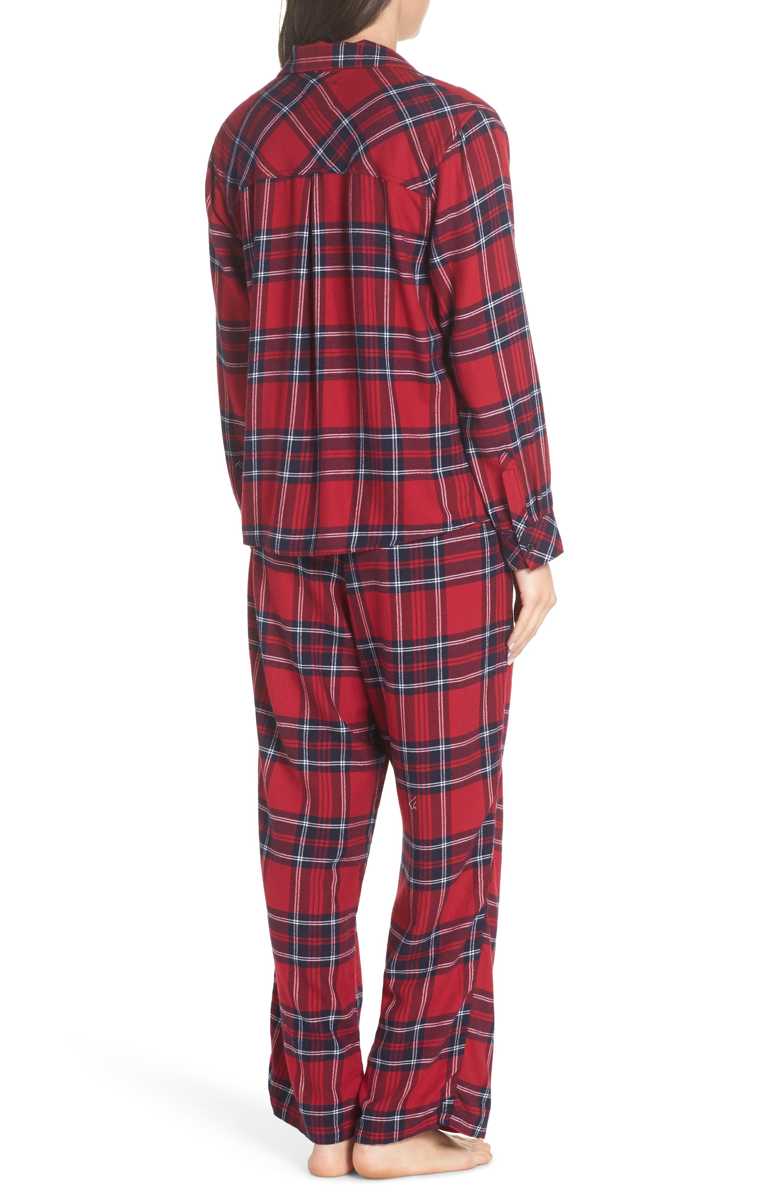 Plaid Pajamas,                             Alternate thumbnail 2, color,                             SCARLET NAVY WHITE