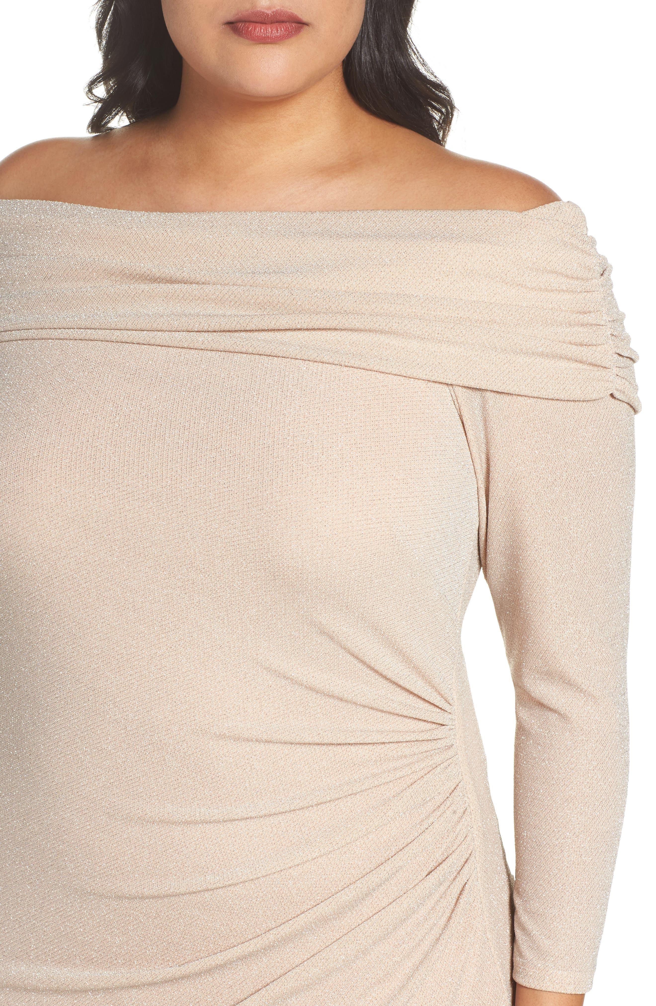 Off the Shoulder Metallic Knit Sheath Dress,                             Alternate thumbnail 4, color,                             684