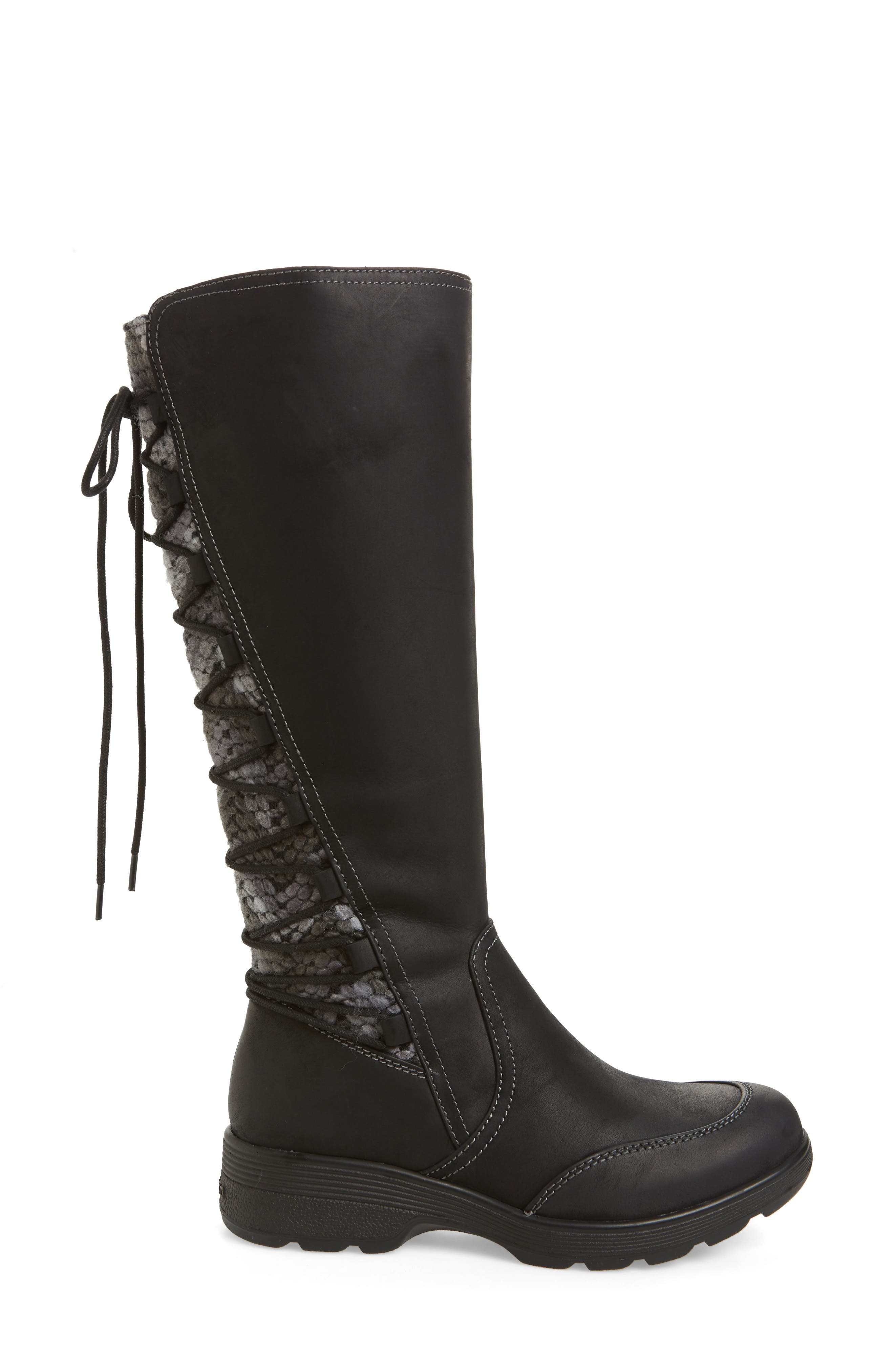 Epping Waterproof Knee High Boot,                             Alternate thumbnail 3, color,                             BLACK LEATHER