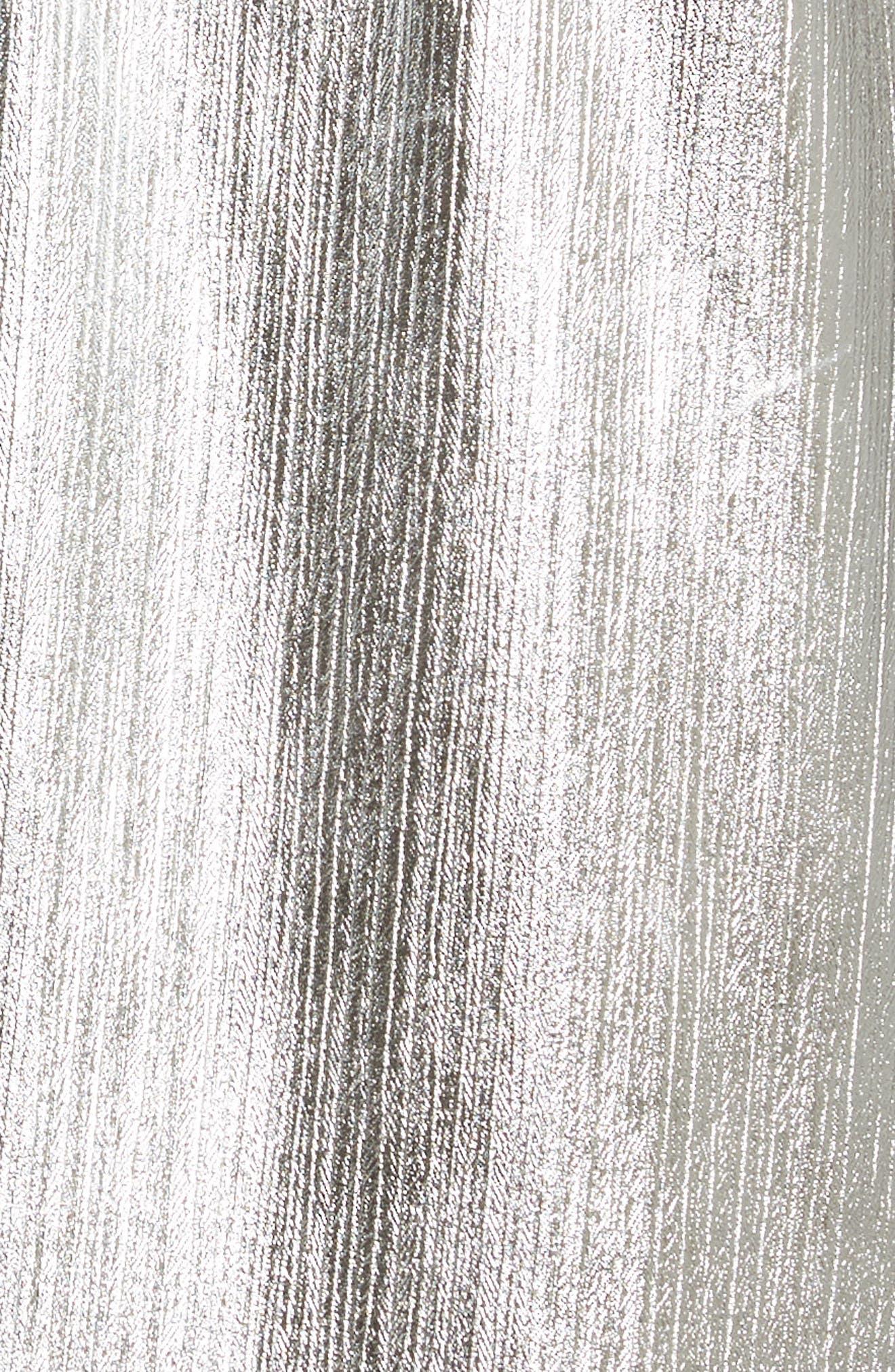 Long Metallic Chiffon Parka,                             Alternate thumbnail 6, color,