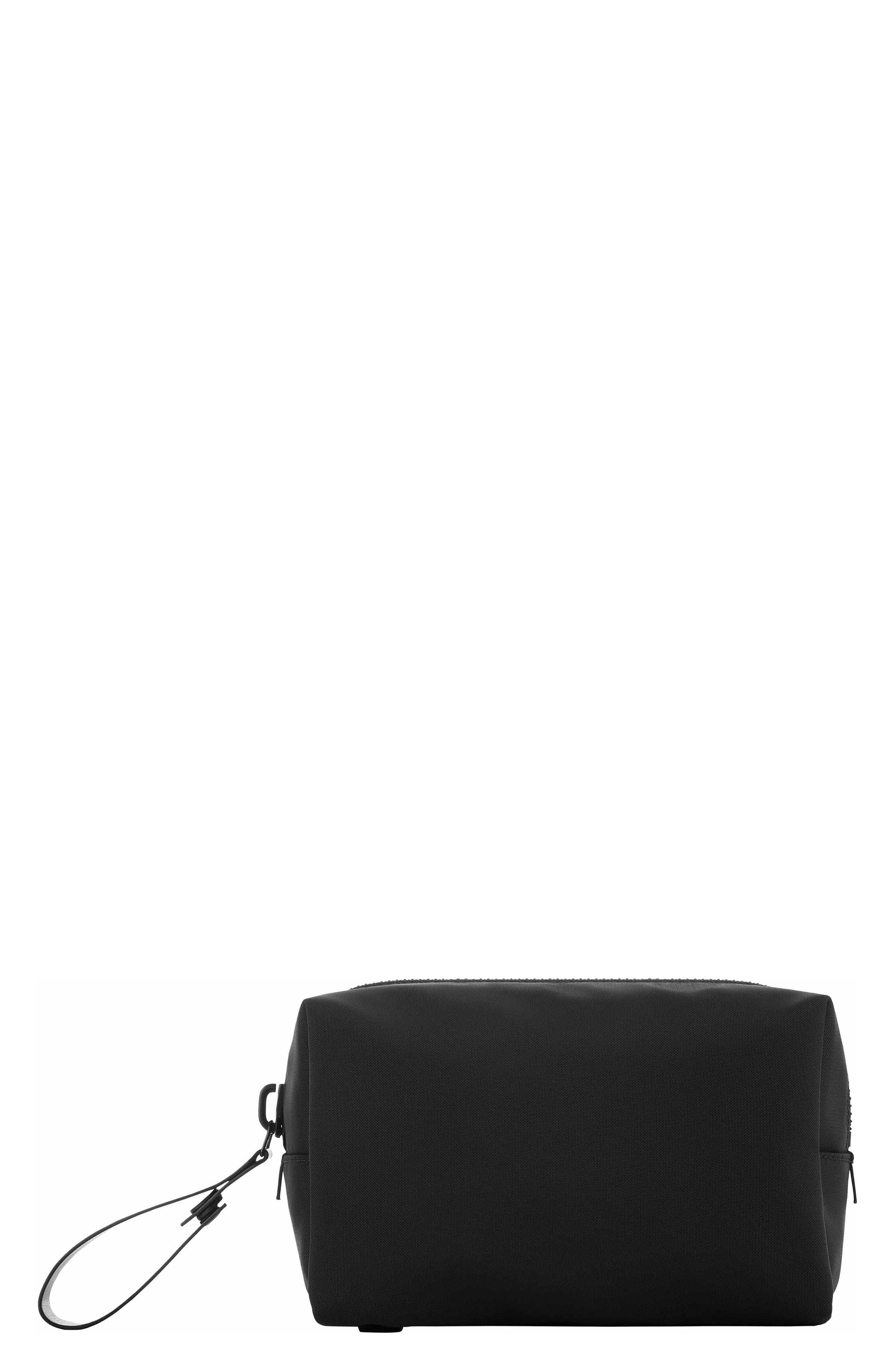 Nylon Dopp Kit,                             Main thumbnail 1, color,                             BLACK NYLON/ BLACK LEATHER