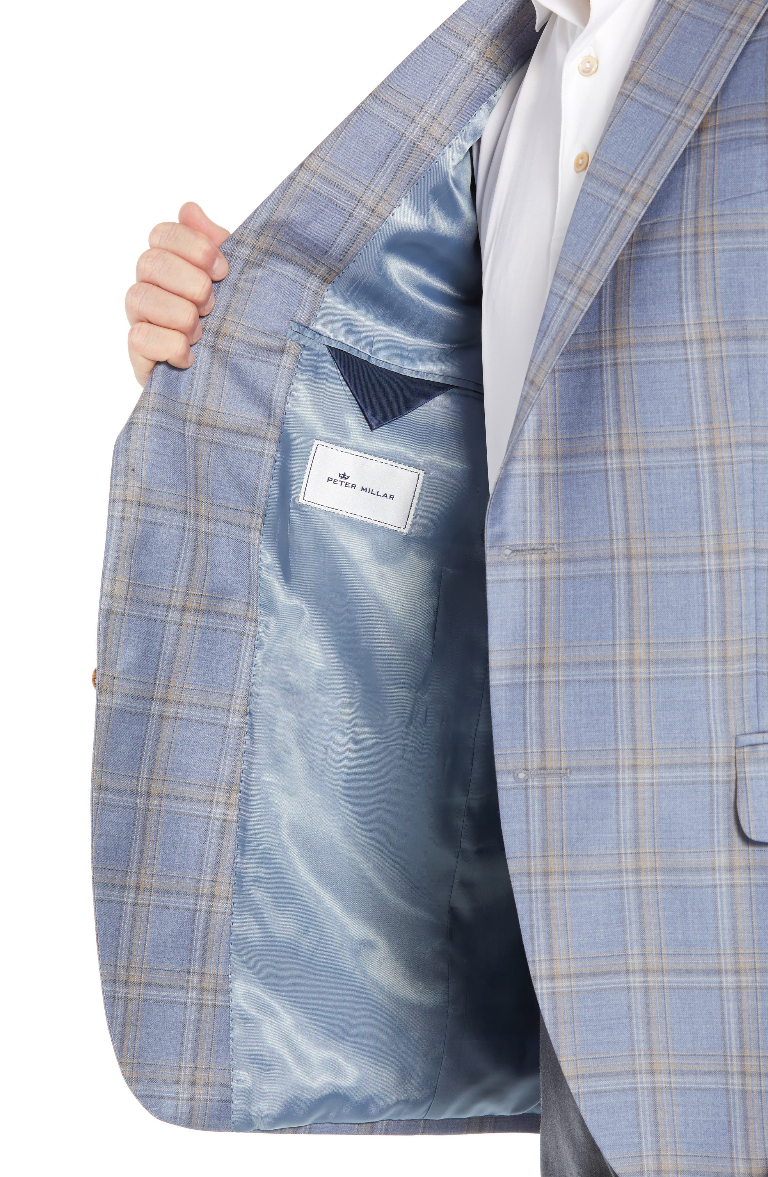 PETER MILLAR,                             Flynn Classic Fit Wool Sport Coat,                             Alternate thumbnail 4, color,                             LIGHT BLUE