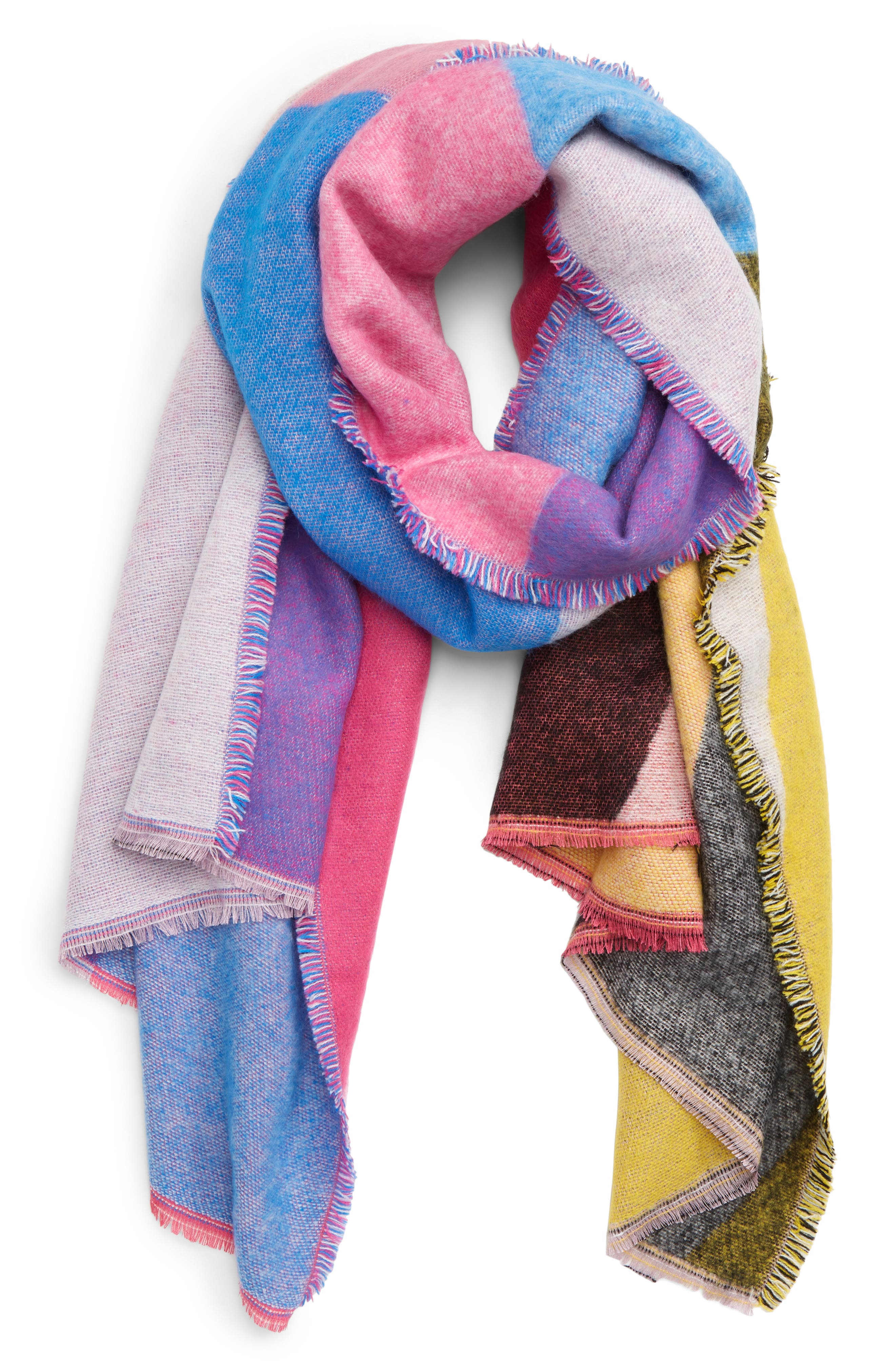 Colorblock Oblong Scarf,                             Main thumbnail 1, color,                             PINK MULTI