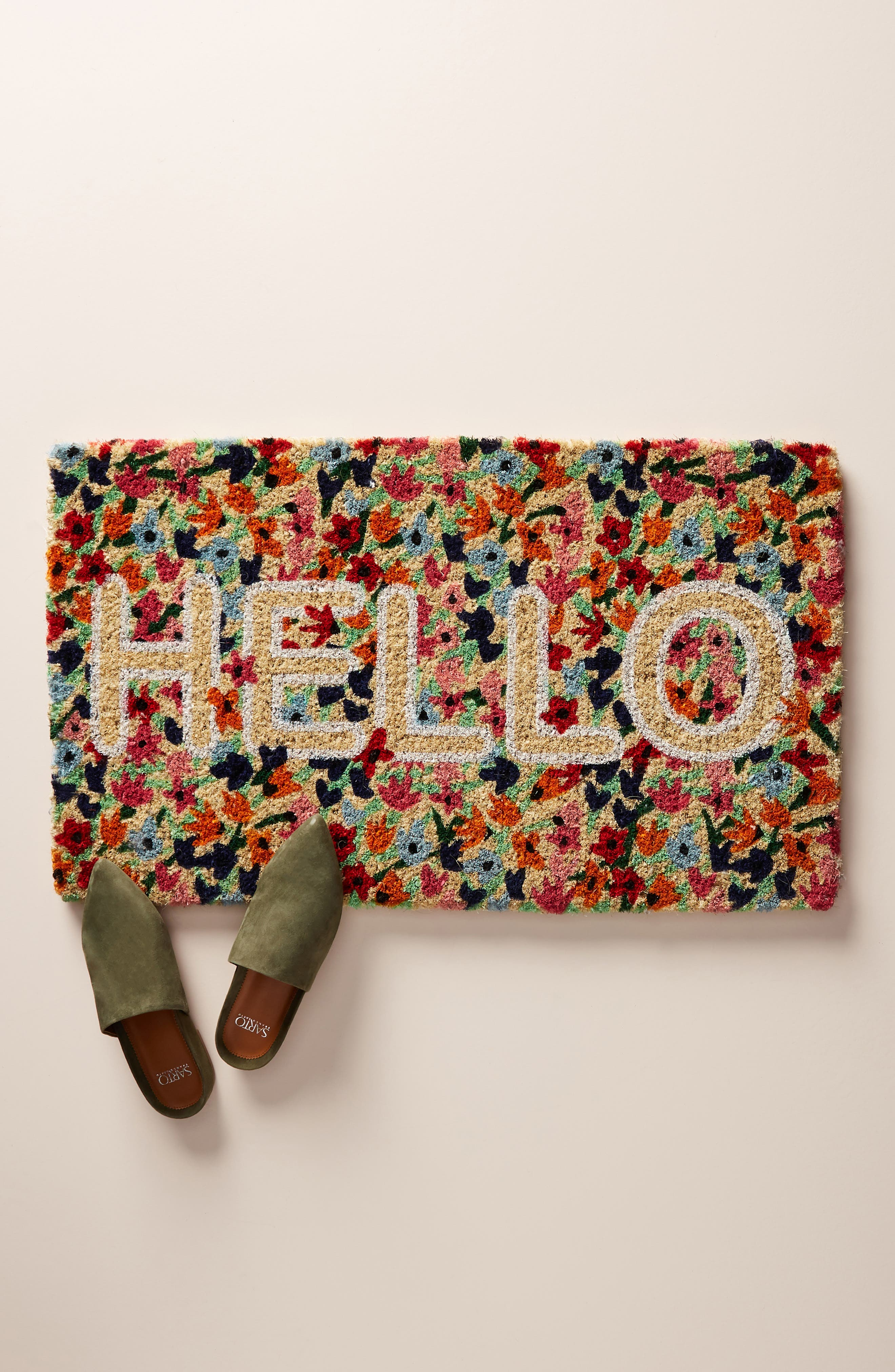 ANTHROPOLOGIE Floral Hello Door Mat, Main, color, RED COMBO