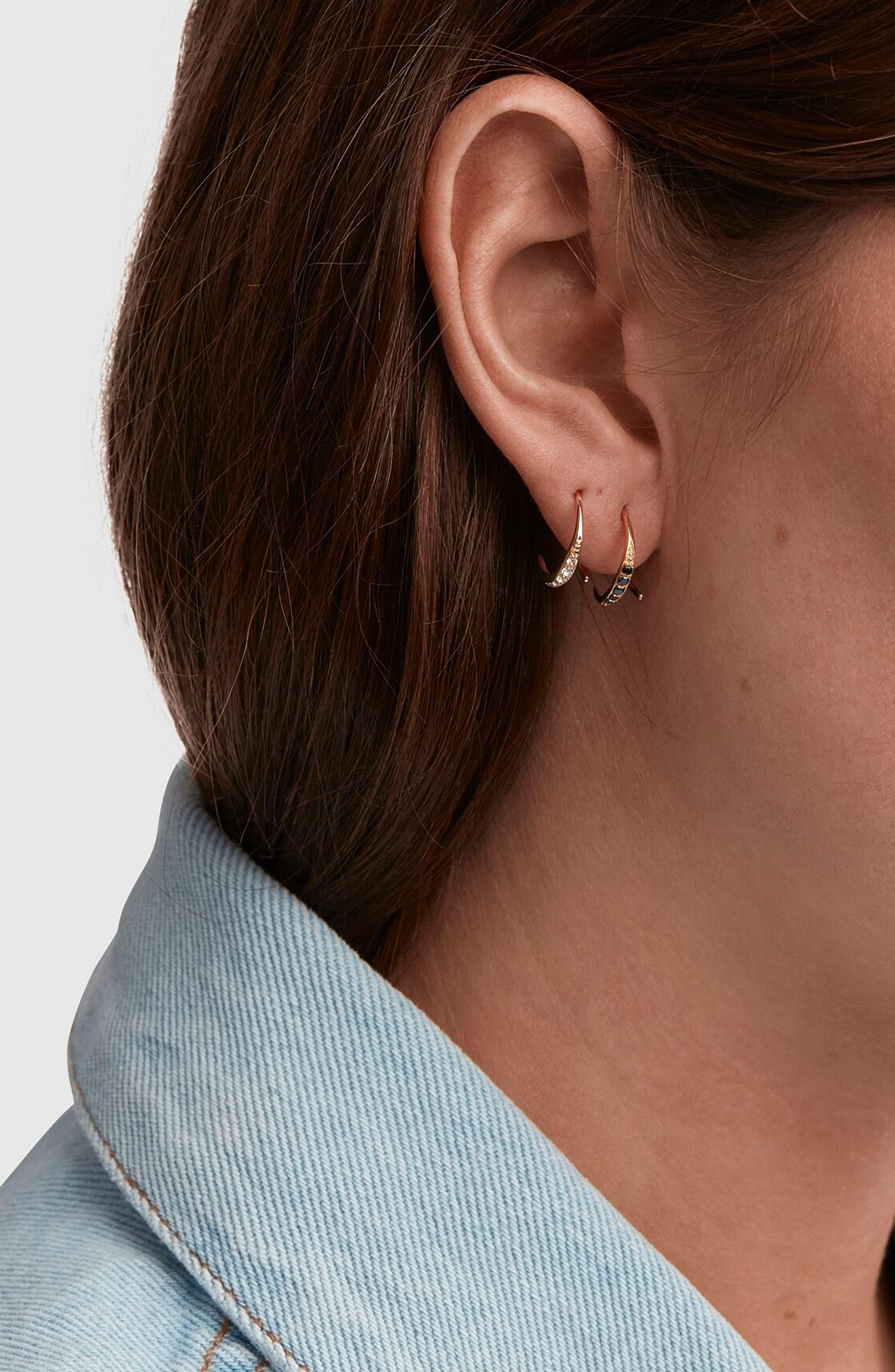 Mini Ear Loop Topaz Earrings,                             Alternate thumbnail 3, color,                             925 STERLING SILVER