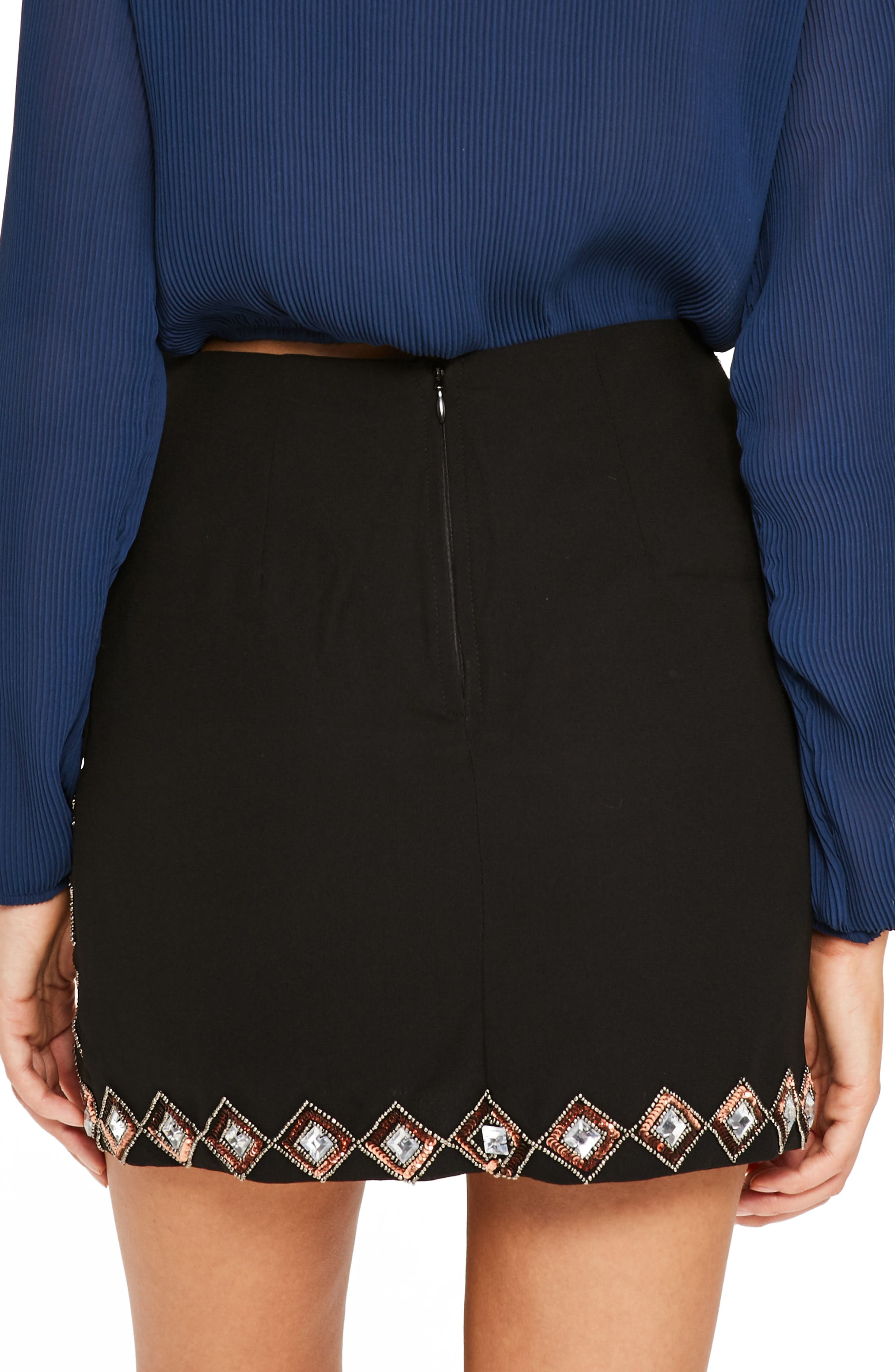 Embellished Miniskirt,                             Alternate thumbnail 2, color,                             001