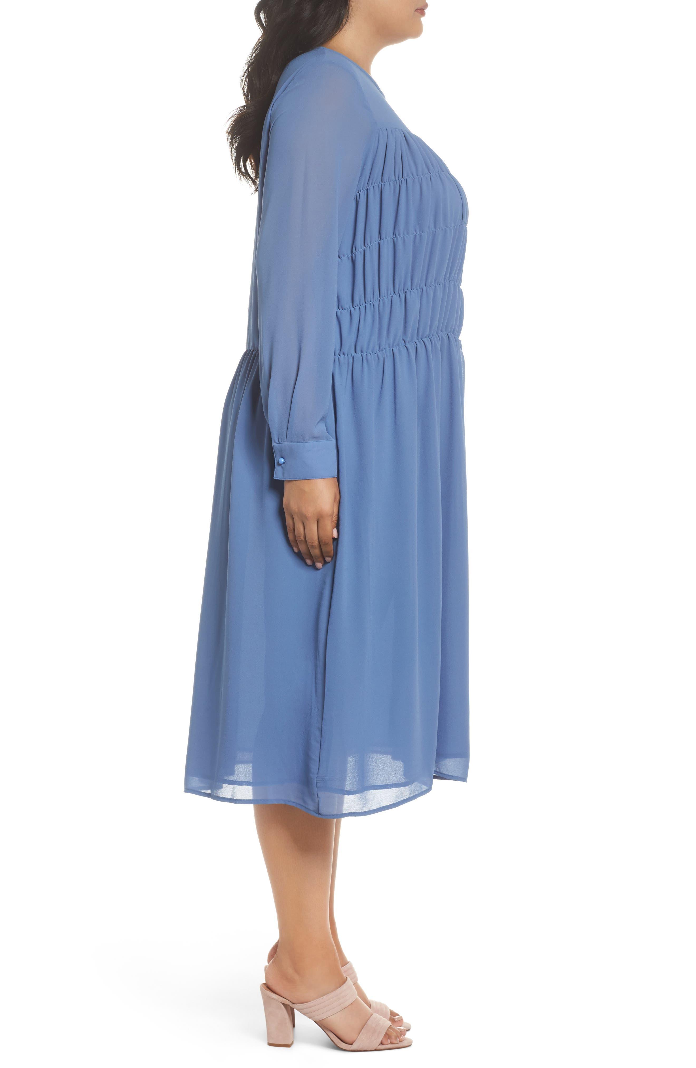 Smocked Chiffon Dress,                             Alternate thumbnail 3, color,                             400