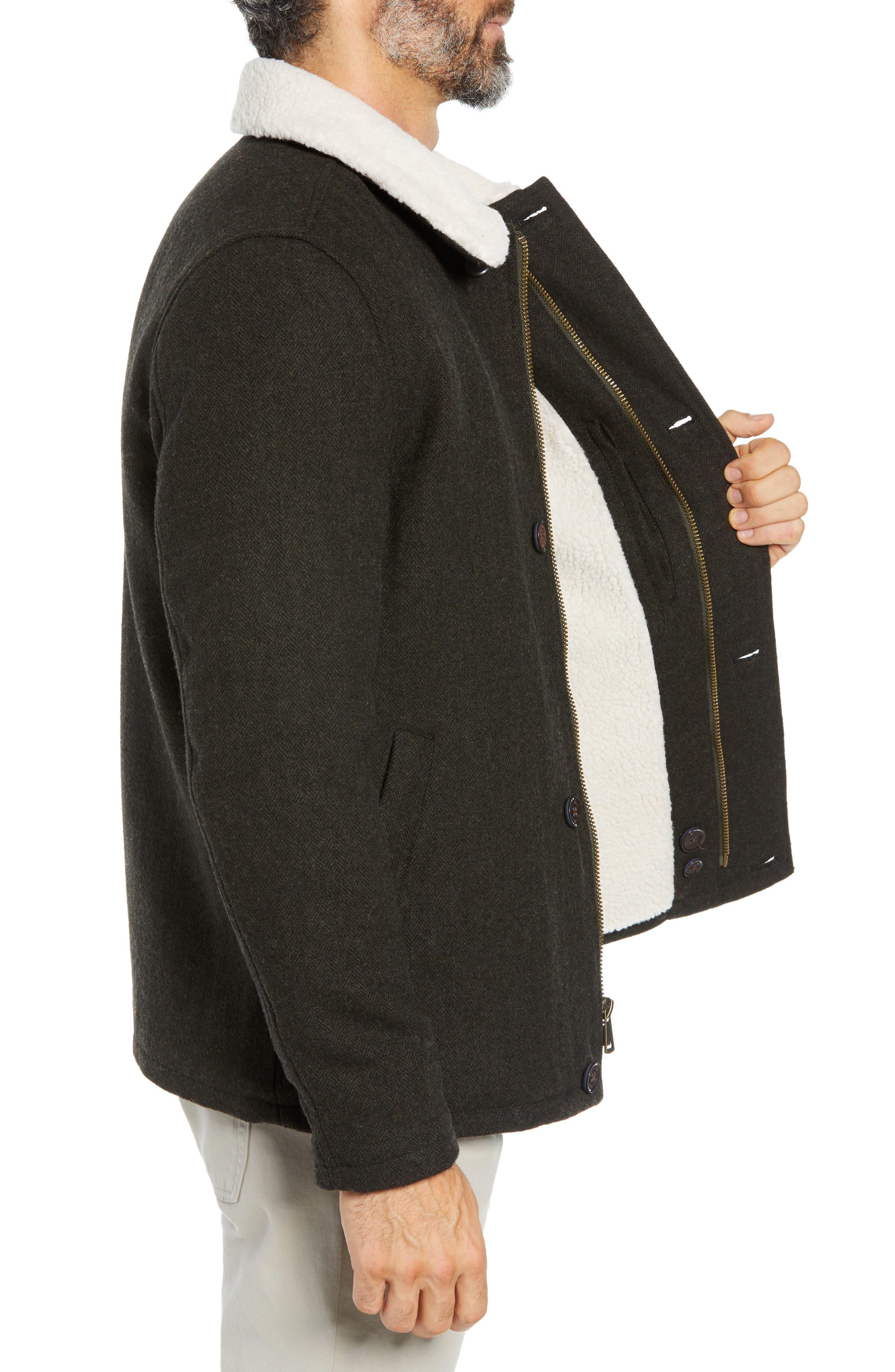 COLE HAAN SIGNATURE,                             Faux Shearling Trim Field Jacket,                             Alternate thumbnail 3, color,                             317