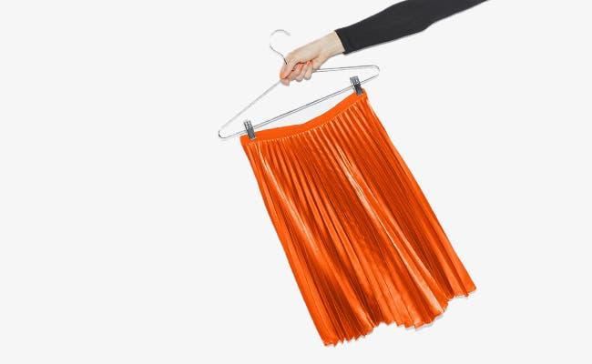 A skirt on a hanger