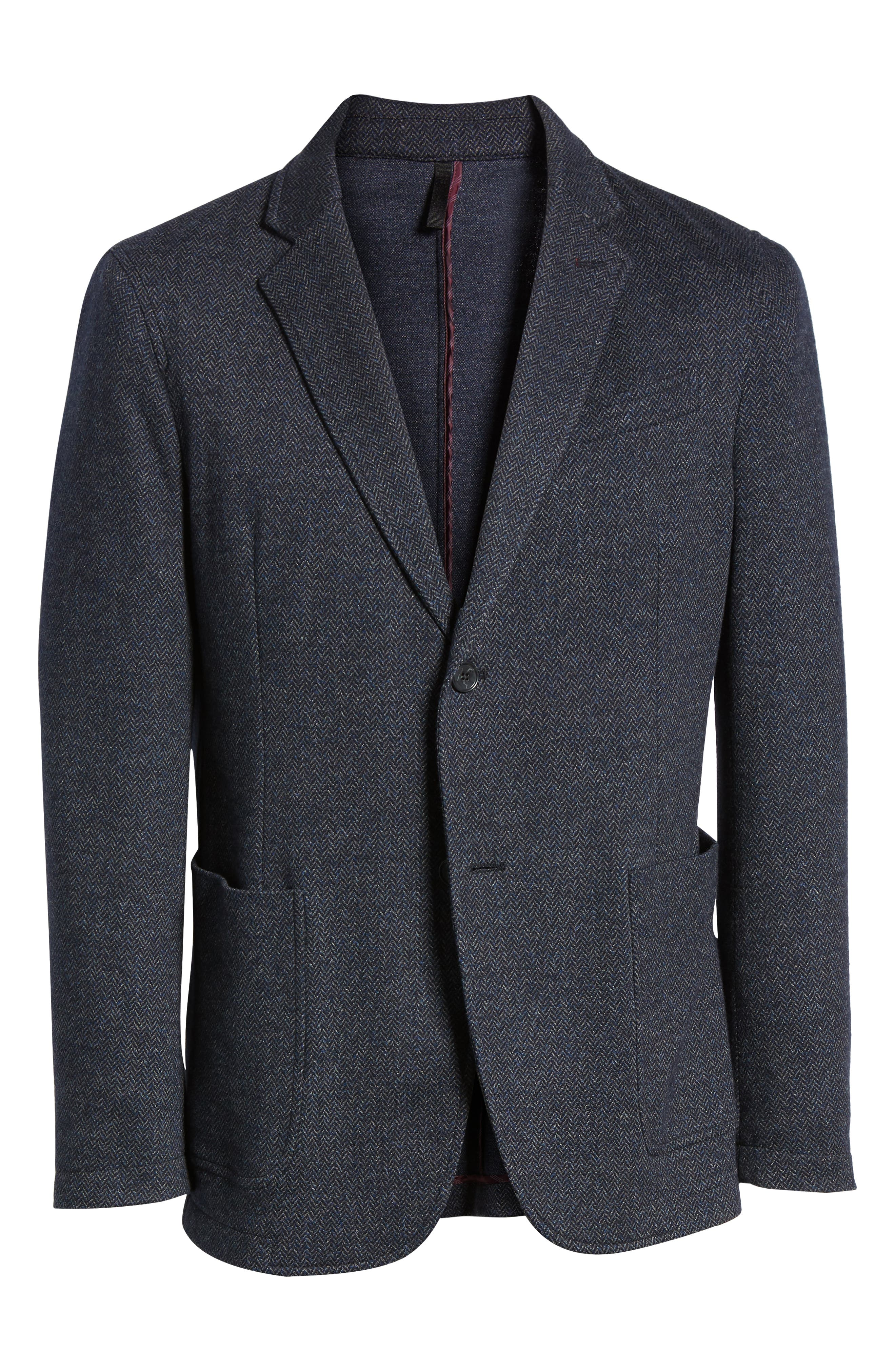 Cotton & Wool Blazer,                             Alternate thumbnail 5, color,                             NIGHT BLUE