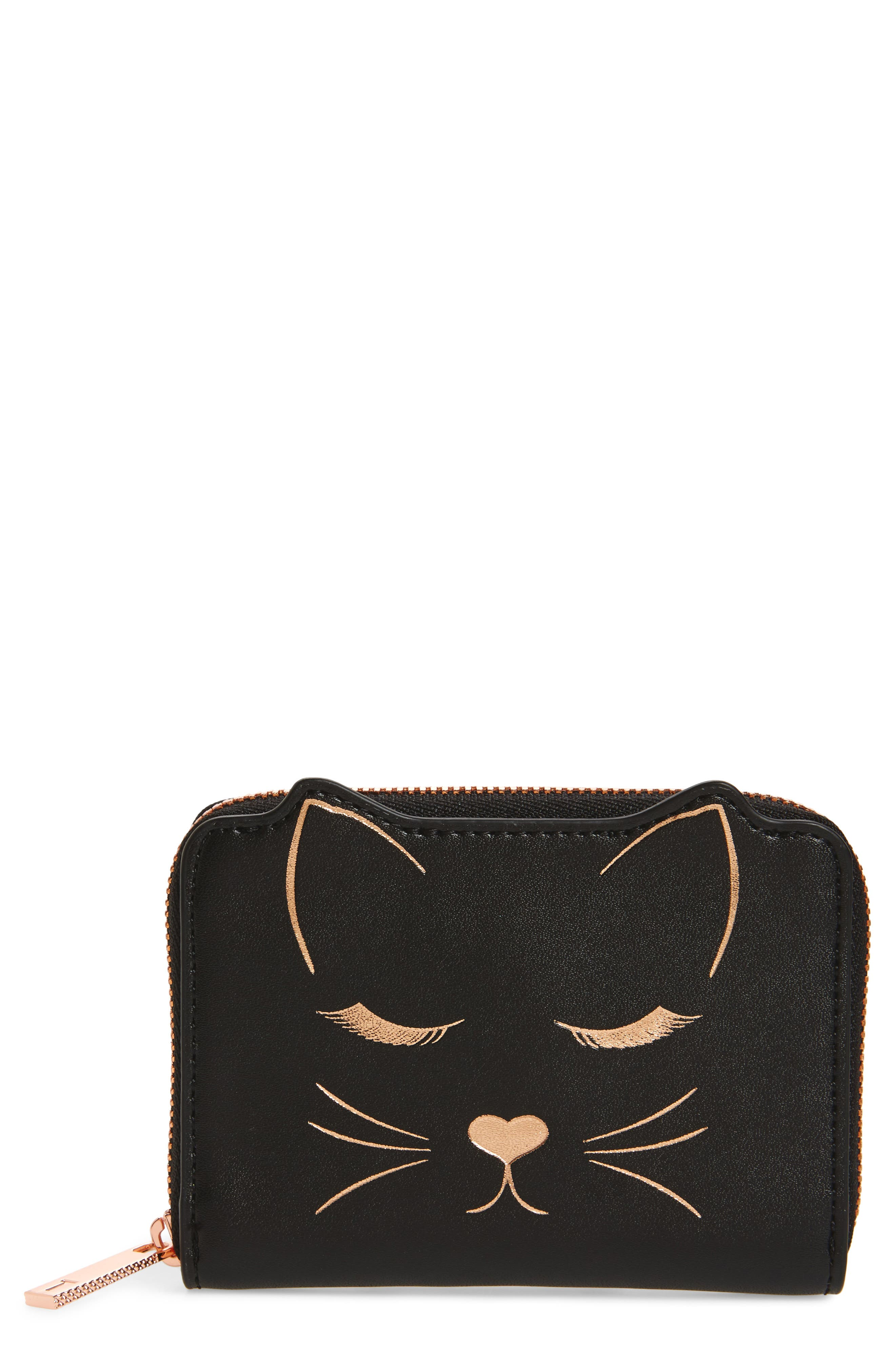 Zip Around Leather Wallet,                         Main,                         color, 001
