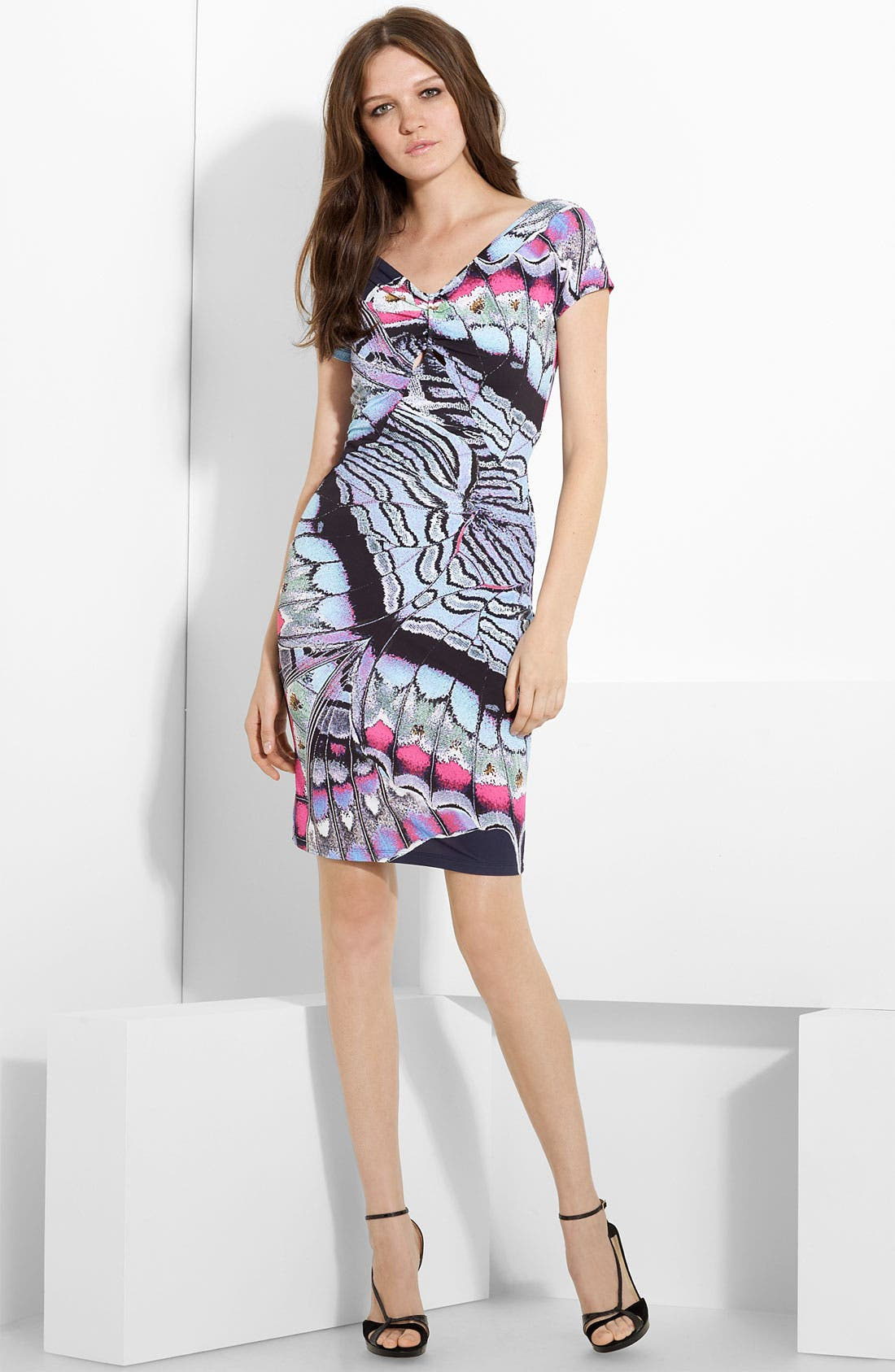 Butterfly Print Dress, Main, color, 460