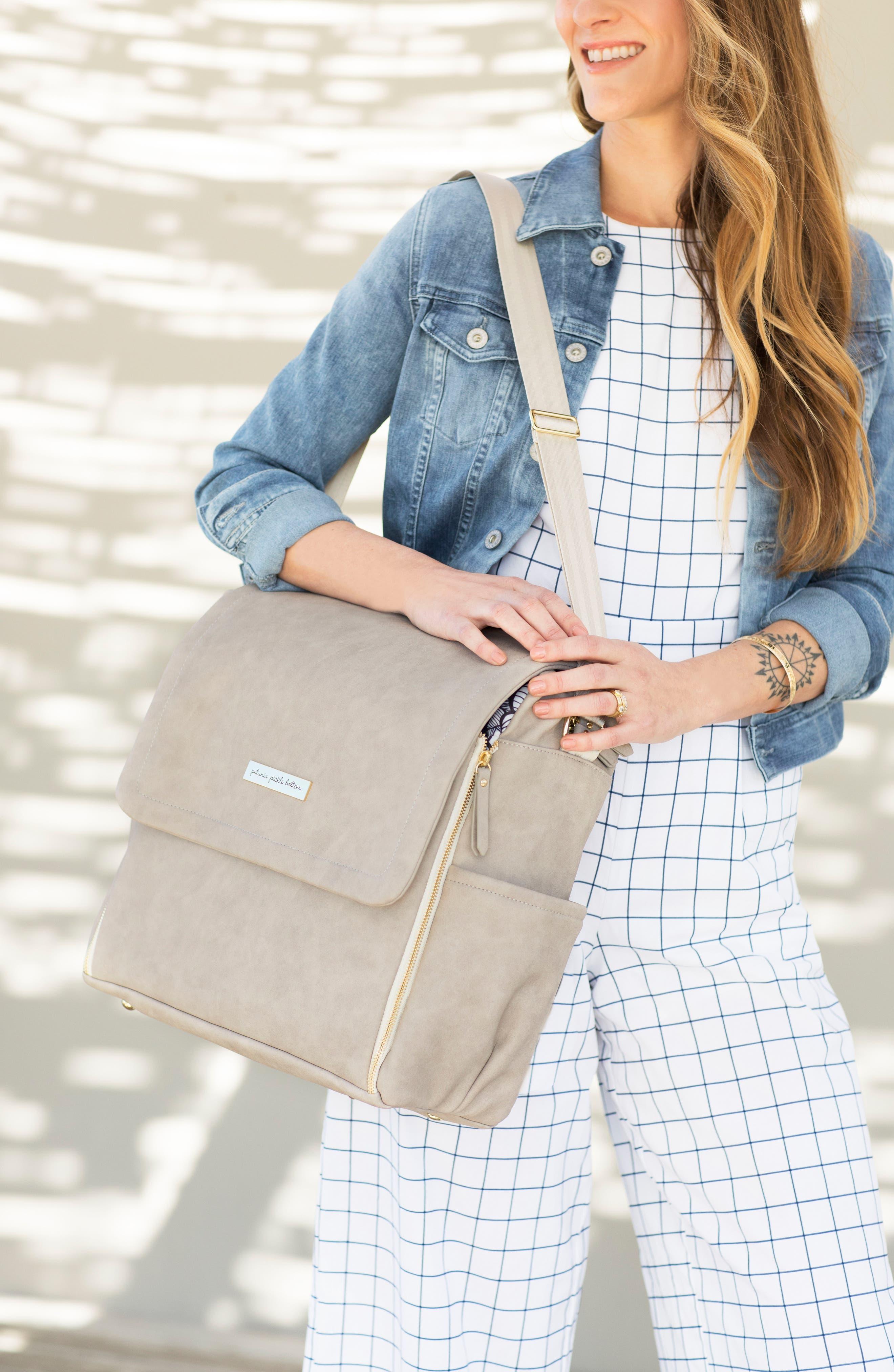 Boxy Backpack Diaper Bag,                             Alternate thumbnail 3, color,                             BLACK MATTE LEATHERETTE