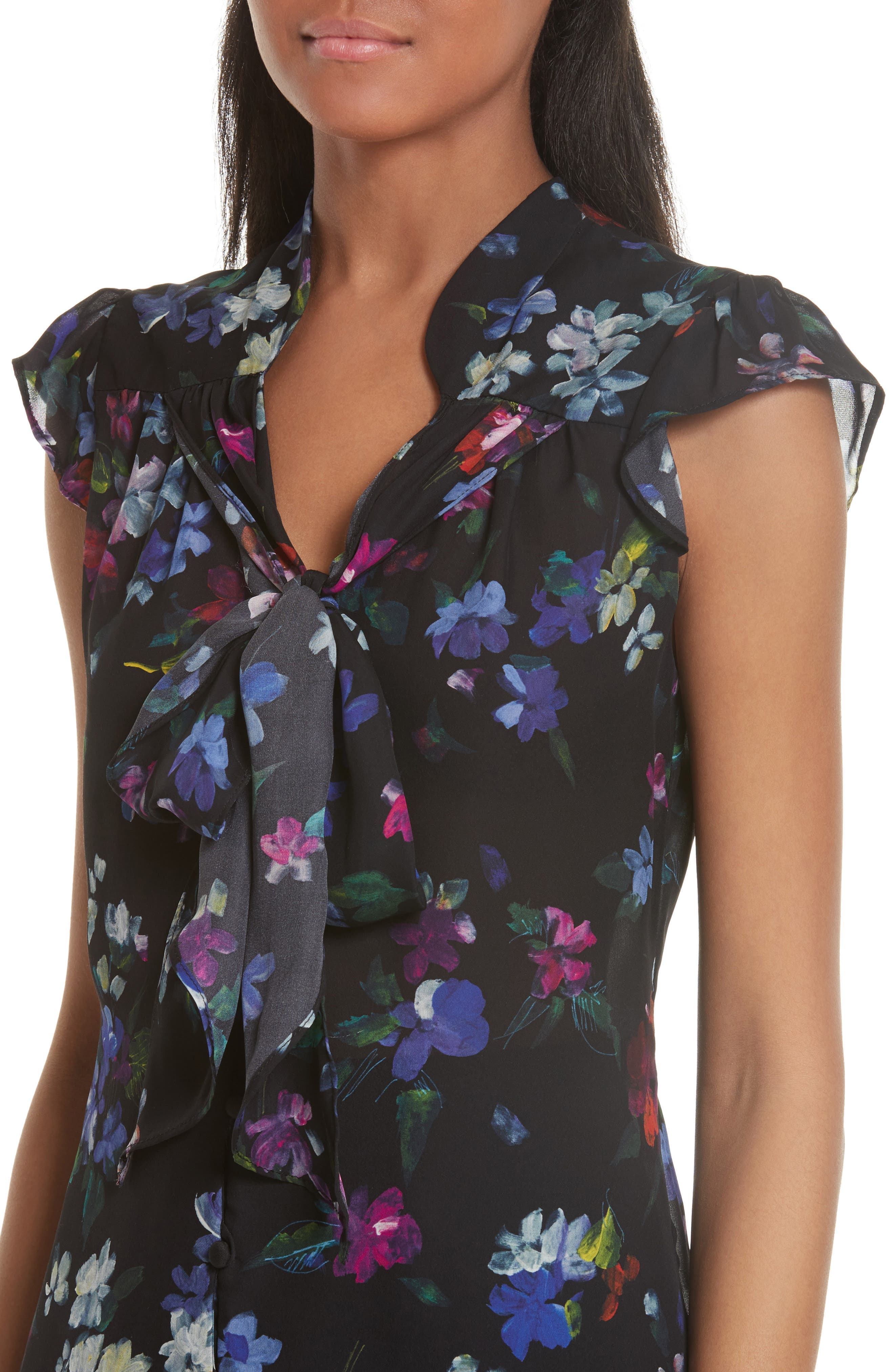 Emily Painted Floral Silk Top,                             Alternate thumbnail 4, color,                             001