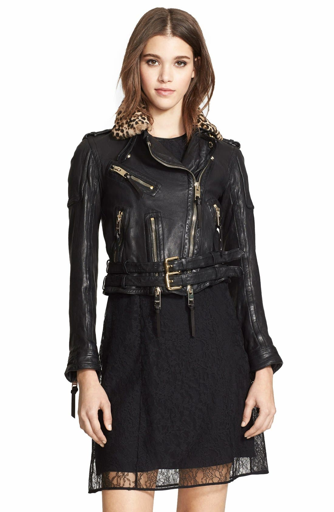 Leather Biker Jacket with Removable Genuine Shearling Collar,                             Main thumbnail 1, color,                             001