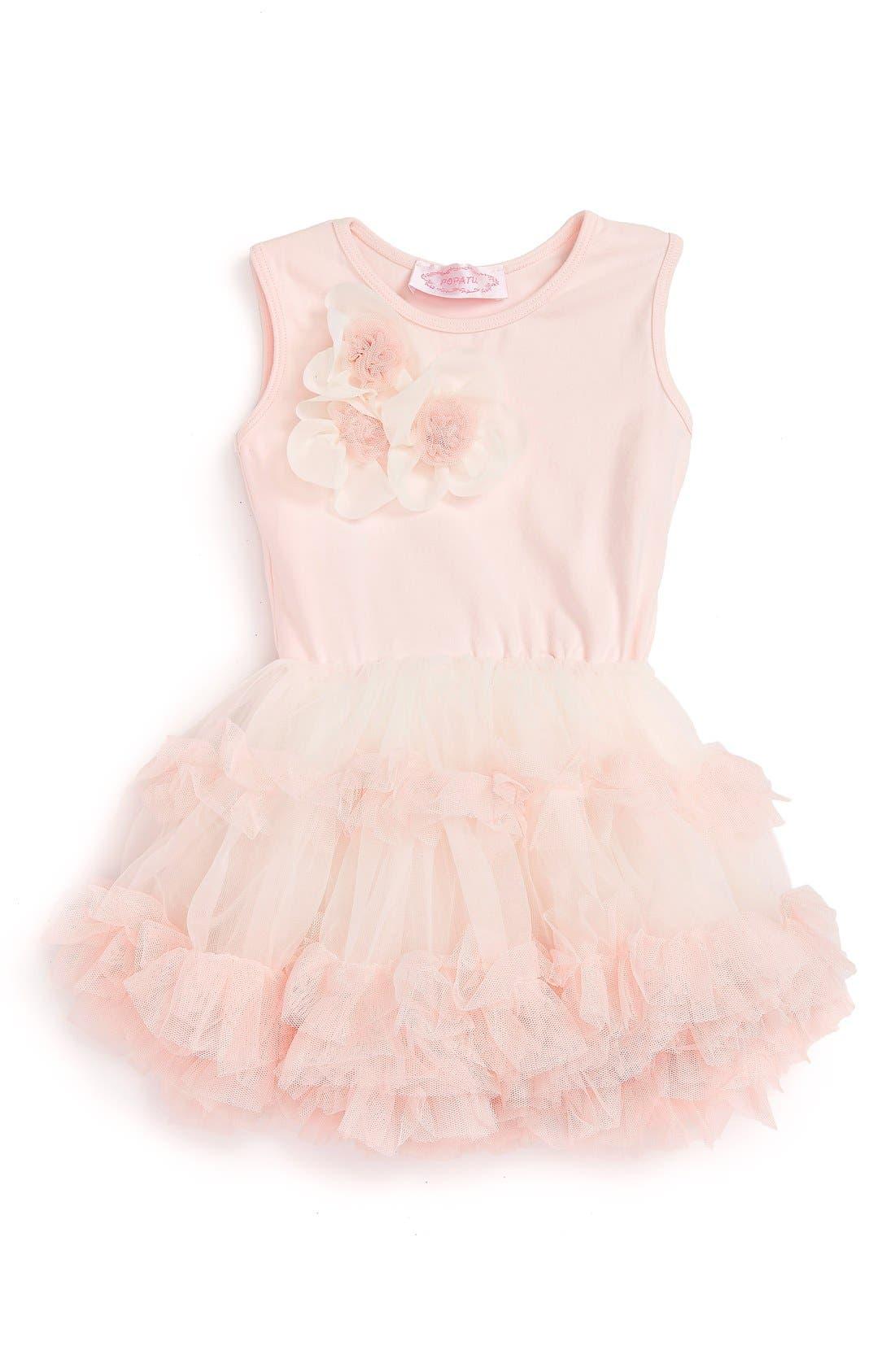 Sleeveless Floral Tutu Dress,                         Main,                         color, PEACH